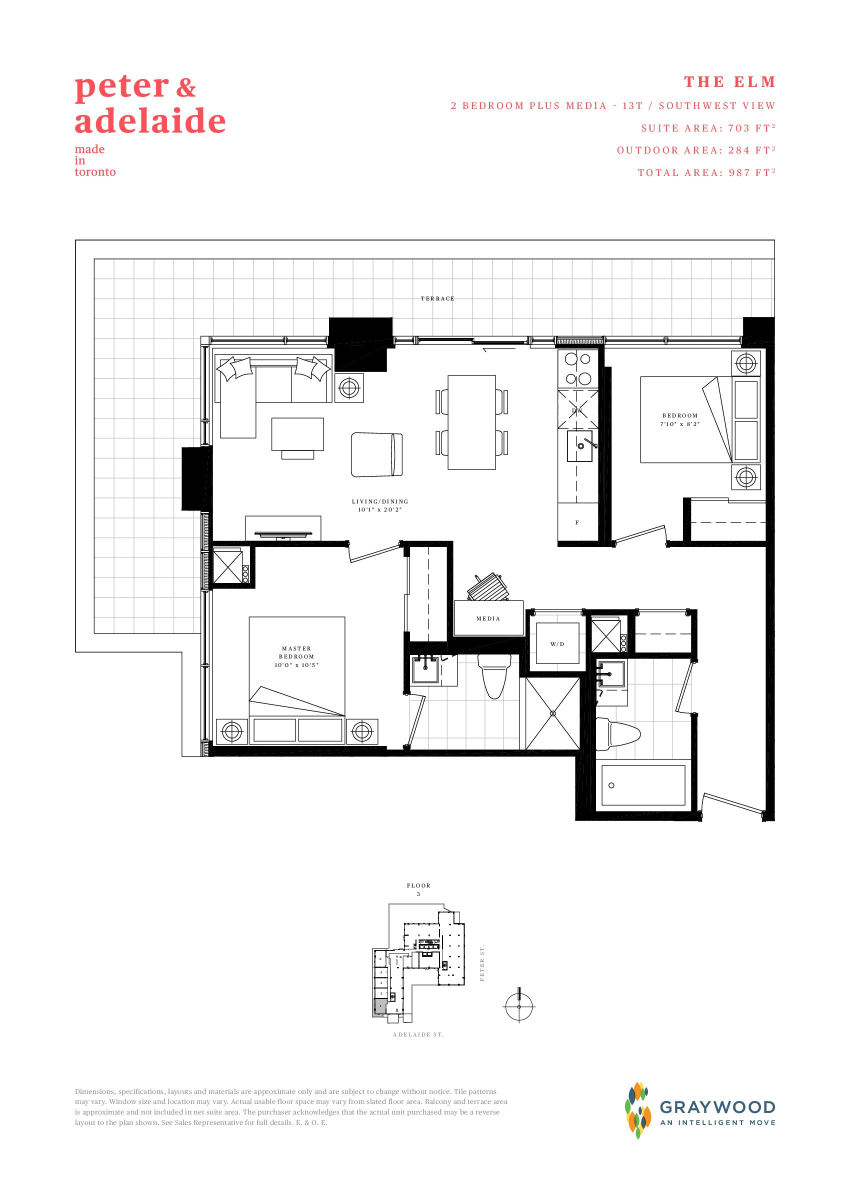 The Elm Floor Plan at Peter & Adelaide Condos - 703 sq.ft