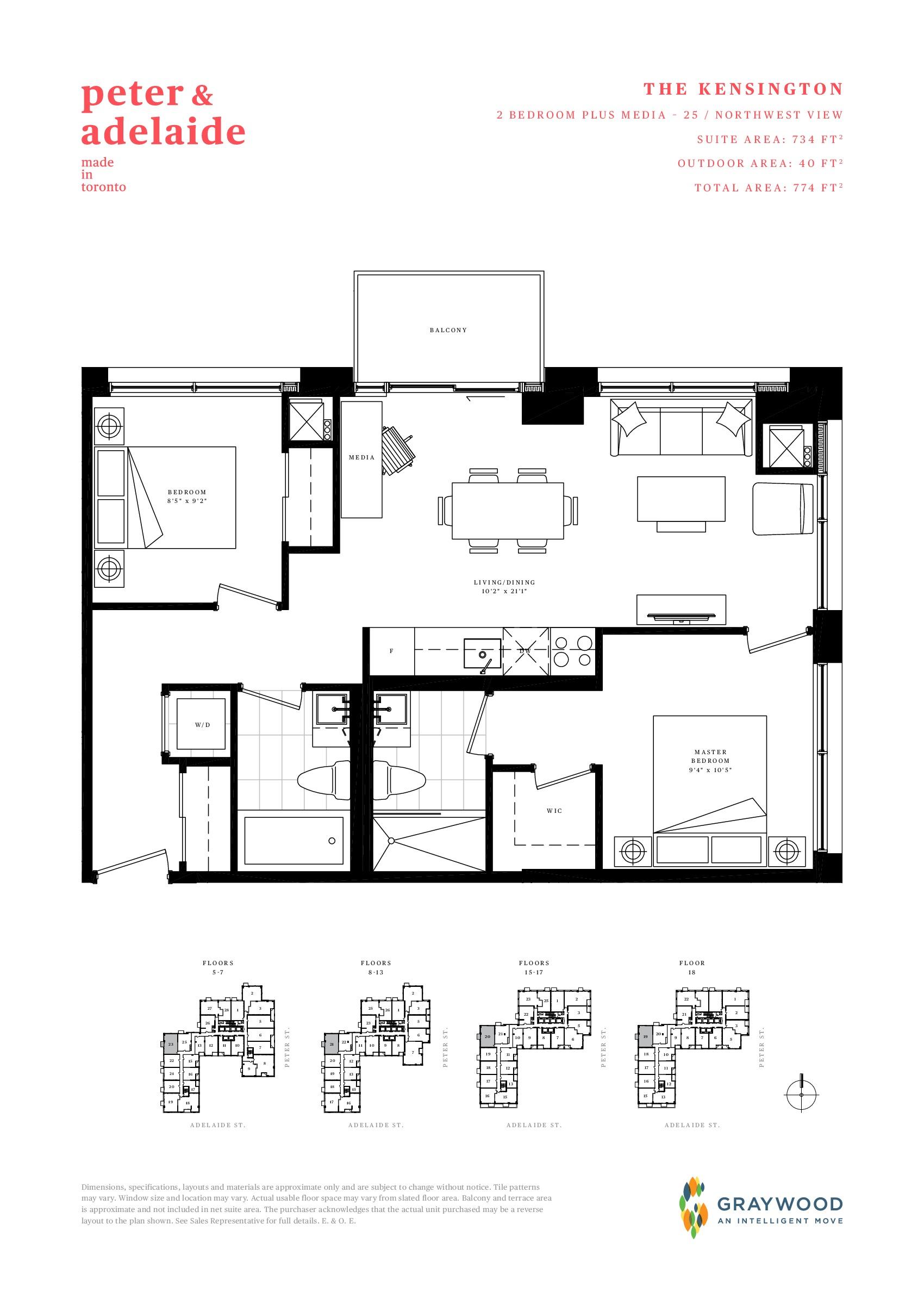 The Kensington Floor Plan at Peter & Adelaide Condos - 734 sq.ft