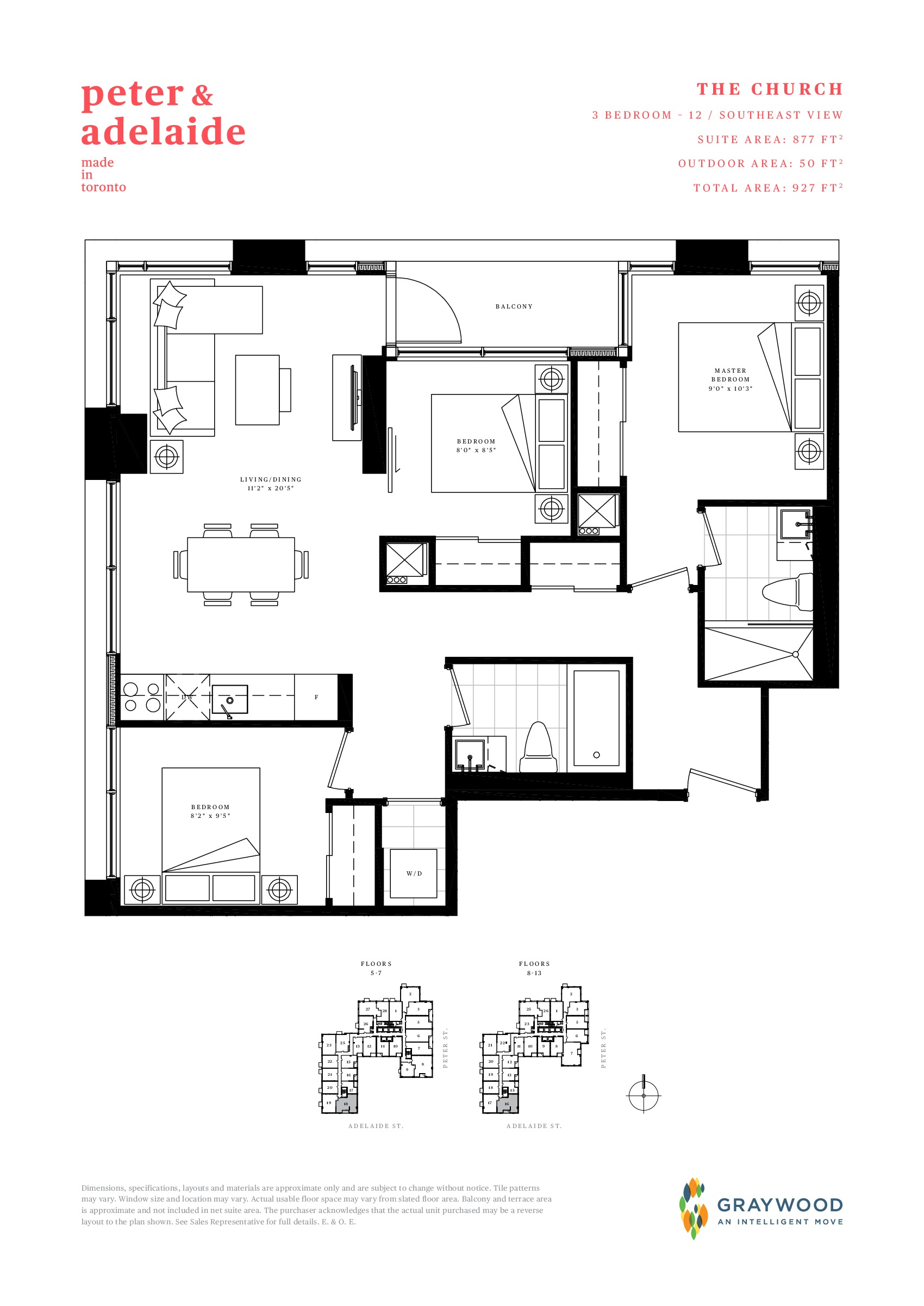 The Church Floor Plan at Peter & Adelaide Condos - 877 sq.ft