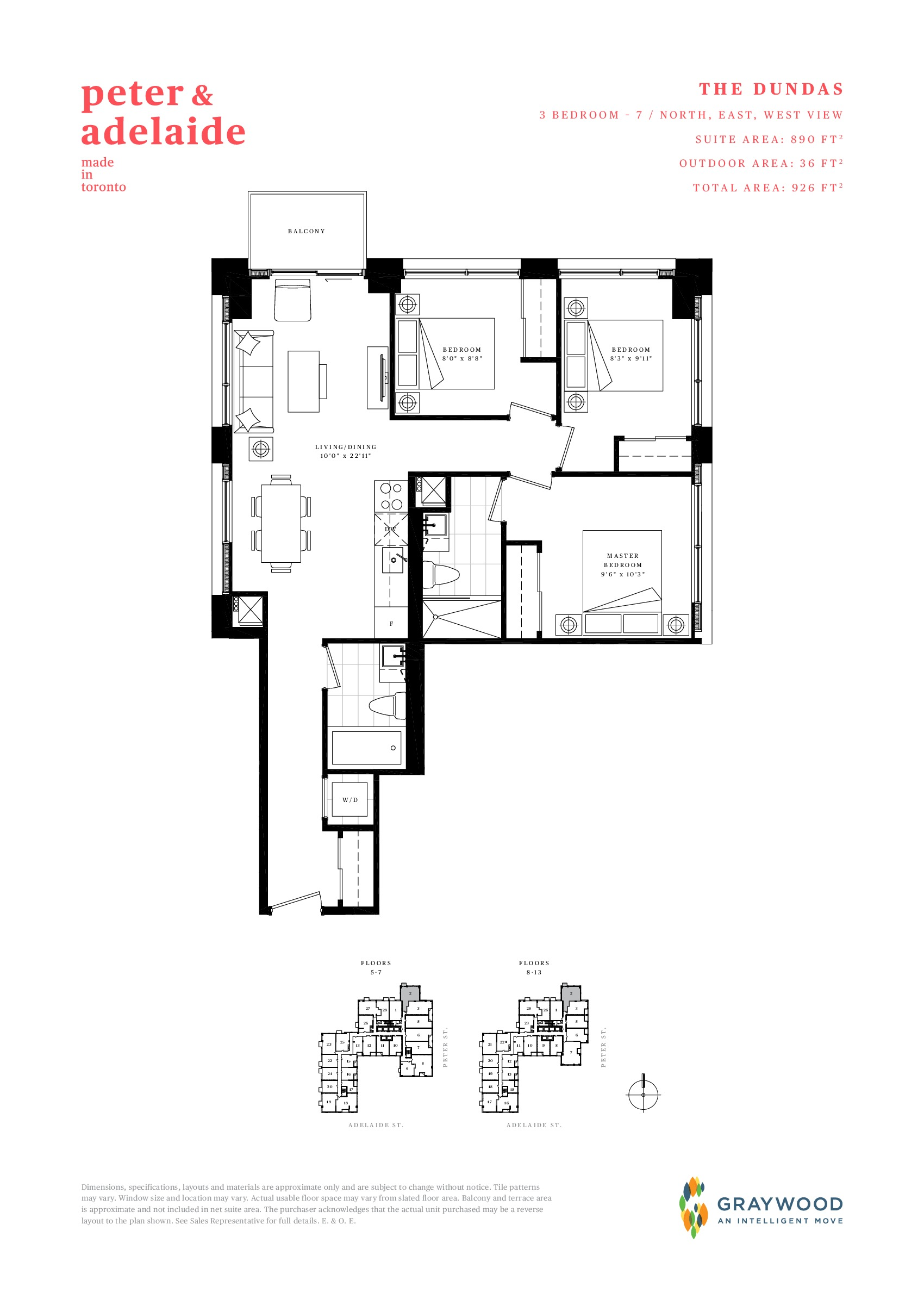 The Dundas Floor Plan at Peter & Adelaide Condos - 890 sq.ft