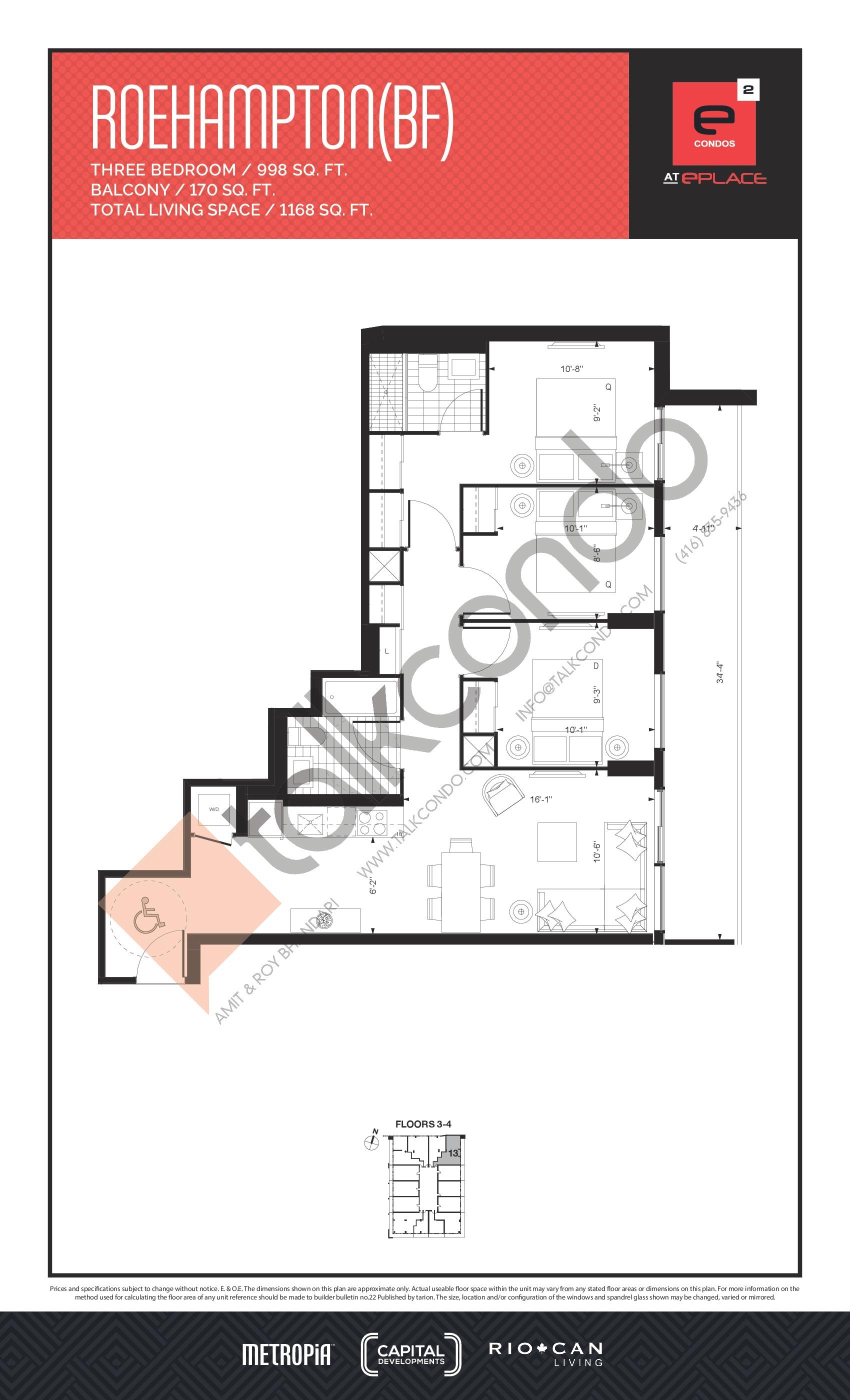 Roehampton (BF) Floor Plan at E2 Condos - 998 sq.ft
