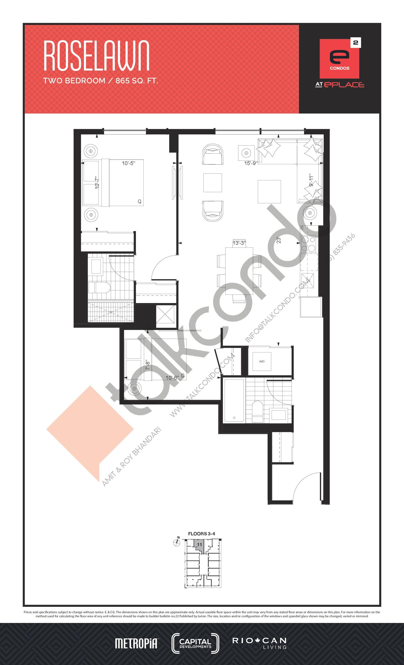 Roselawn Floor Plan at E2 Condos - 865 sq.ft