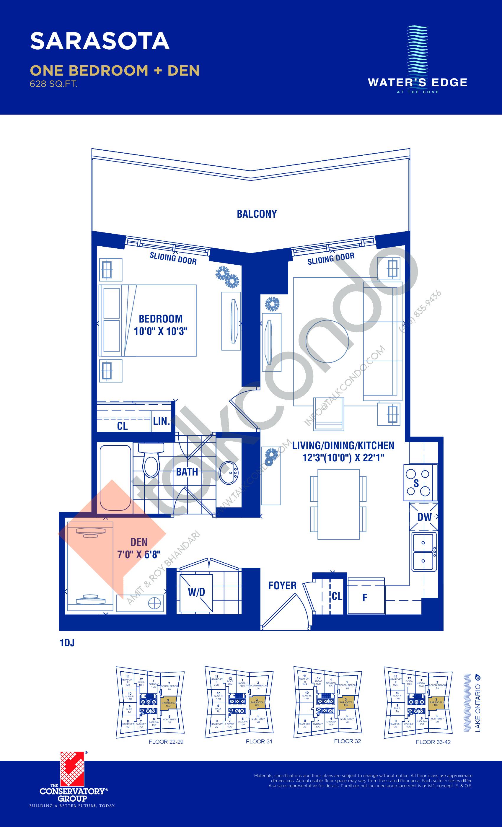 Sarasota Floor Plan at Water's Edge at the Cove Condos - 628 sq.ft