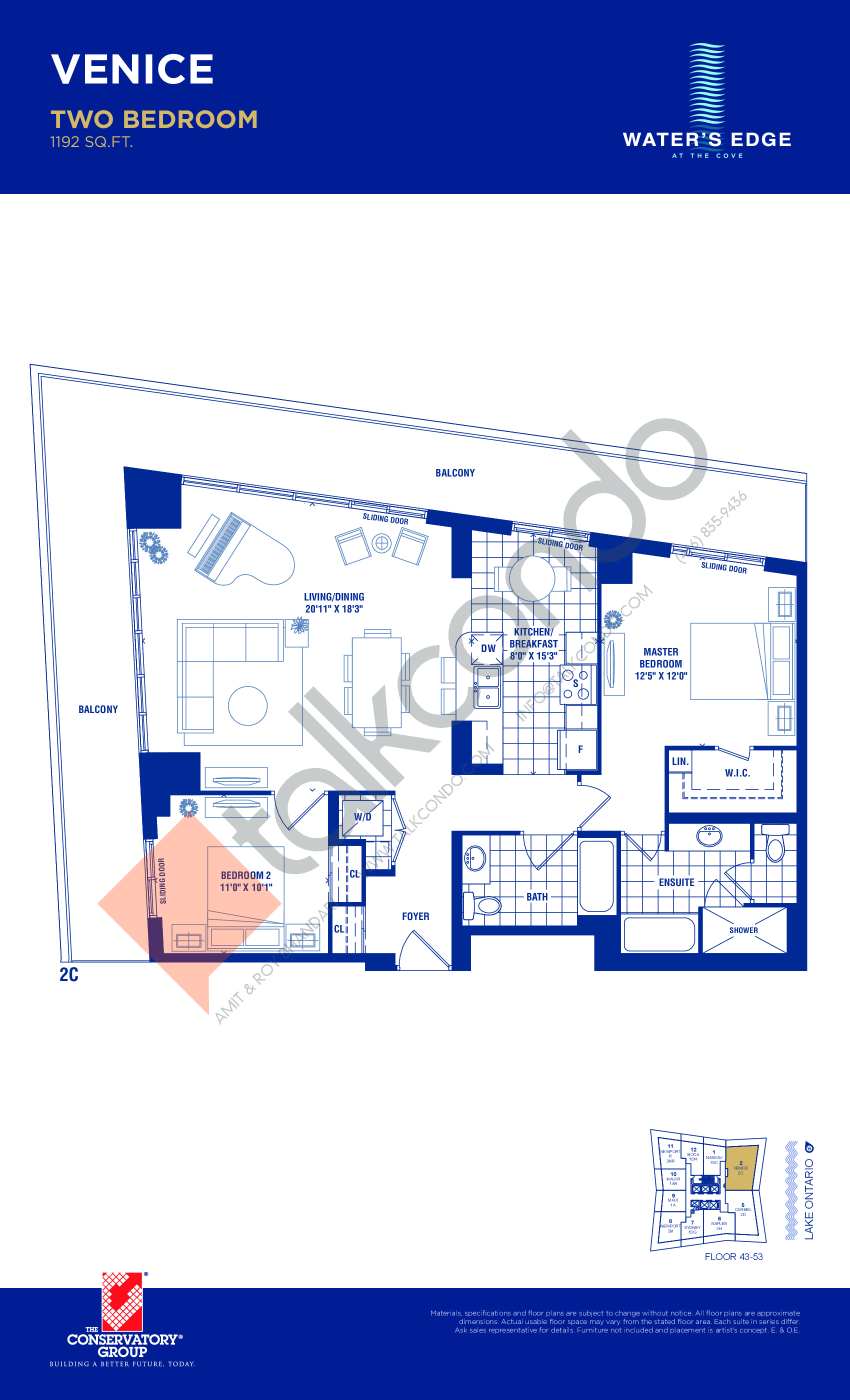 Venice Floor Plan at Water's Edge at the Cove Condos - 1192 sq.ft