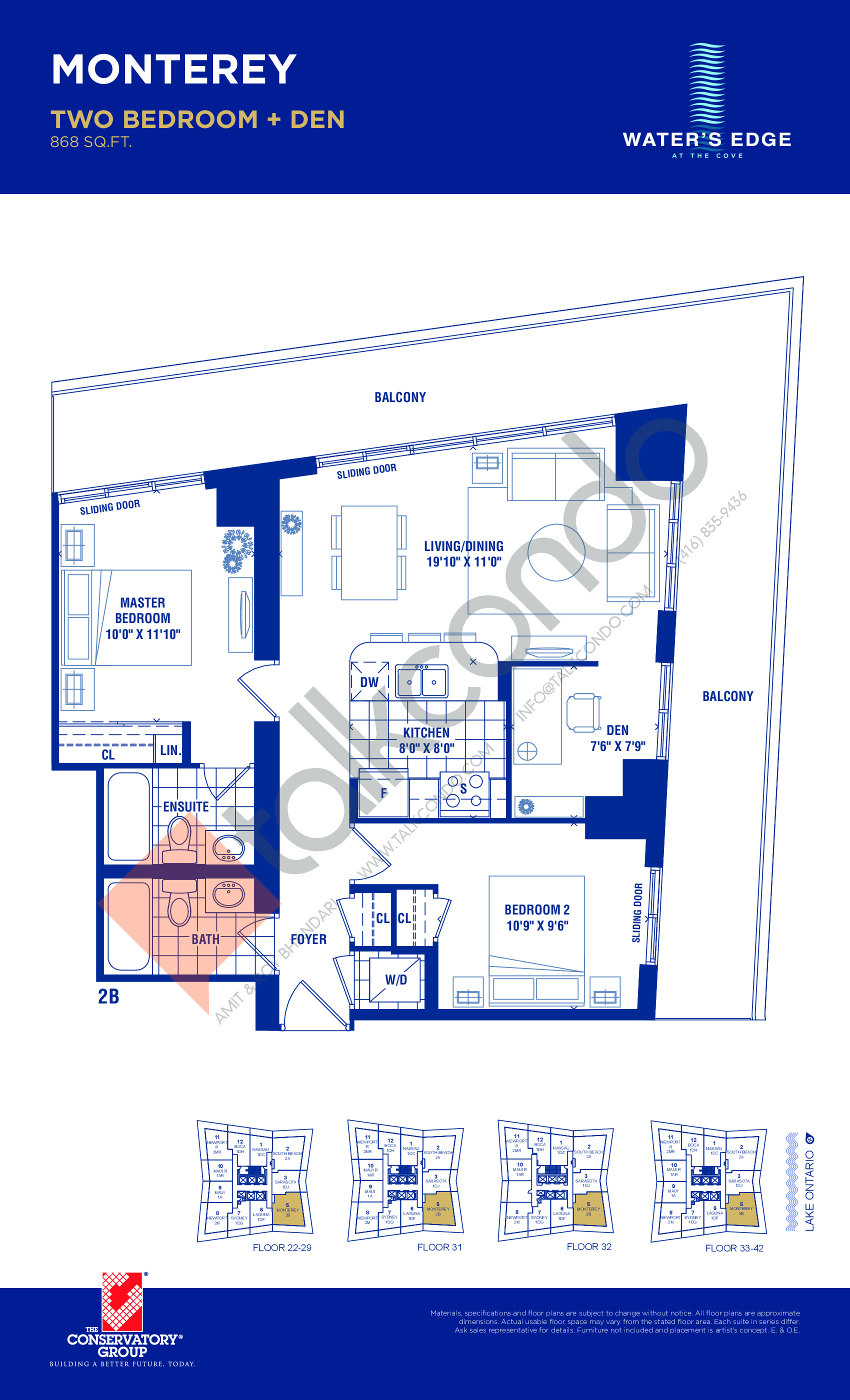 Monterey Floor Plan at Water's Edge at the Cove Condos - 868 sq.ft