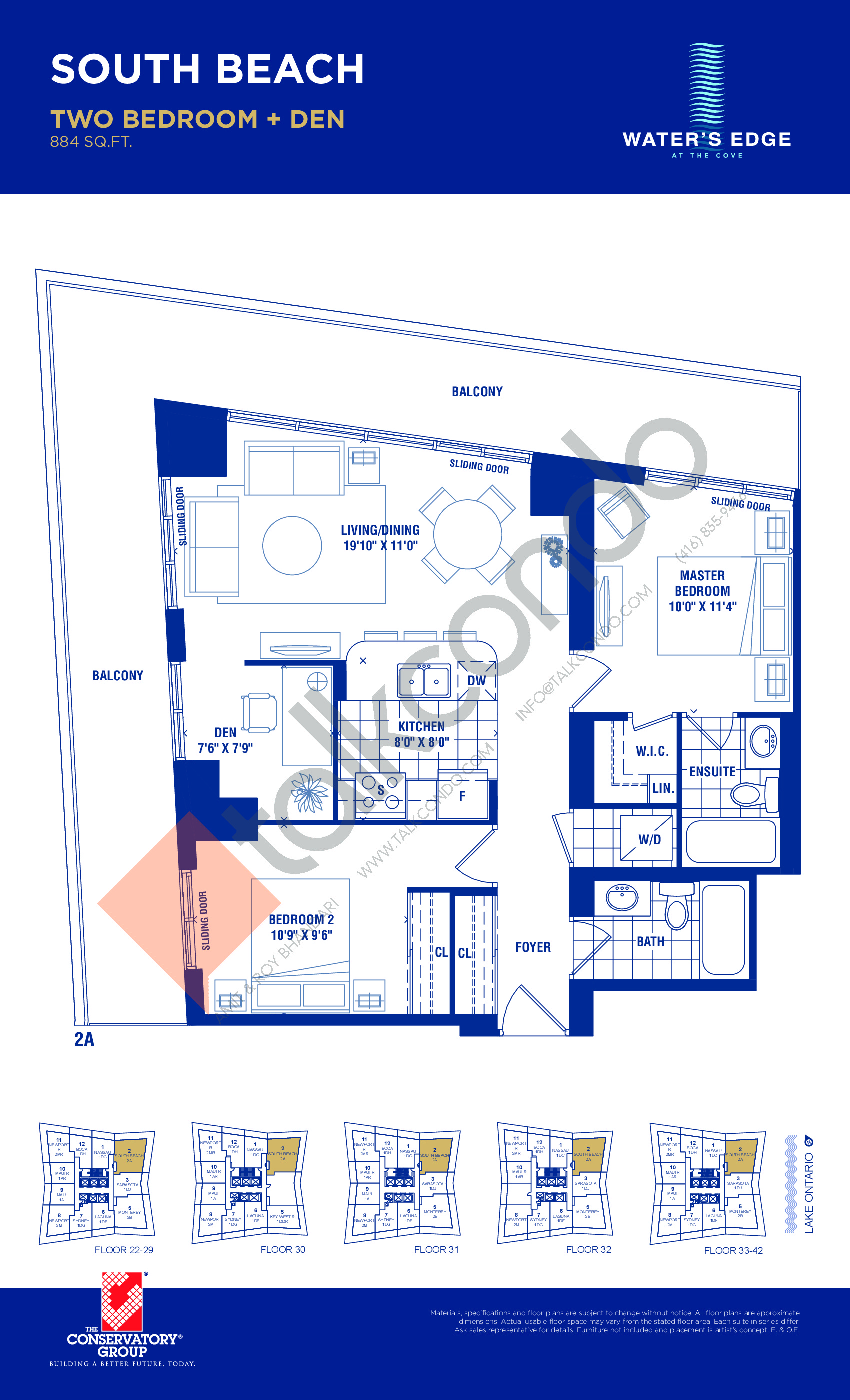 South Beach Floor Plan at Water's Edge at the Cove Condos - 884 sq.ft