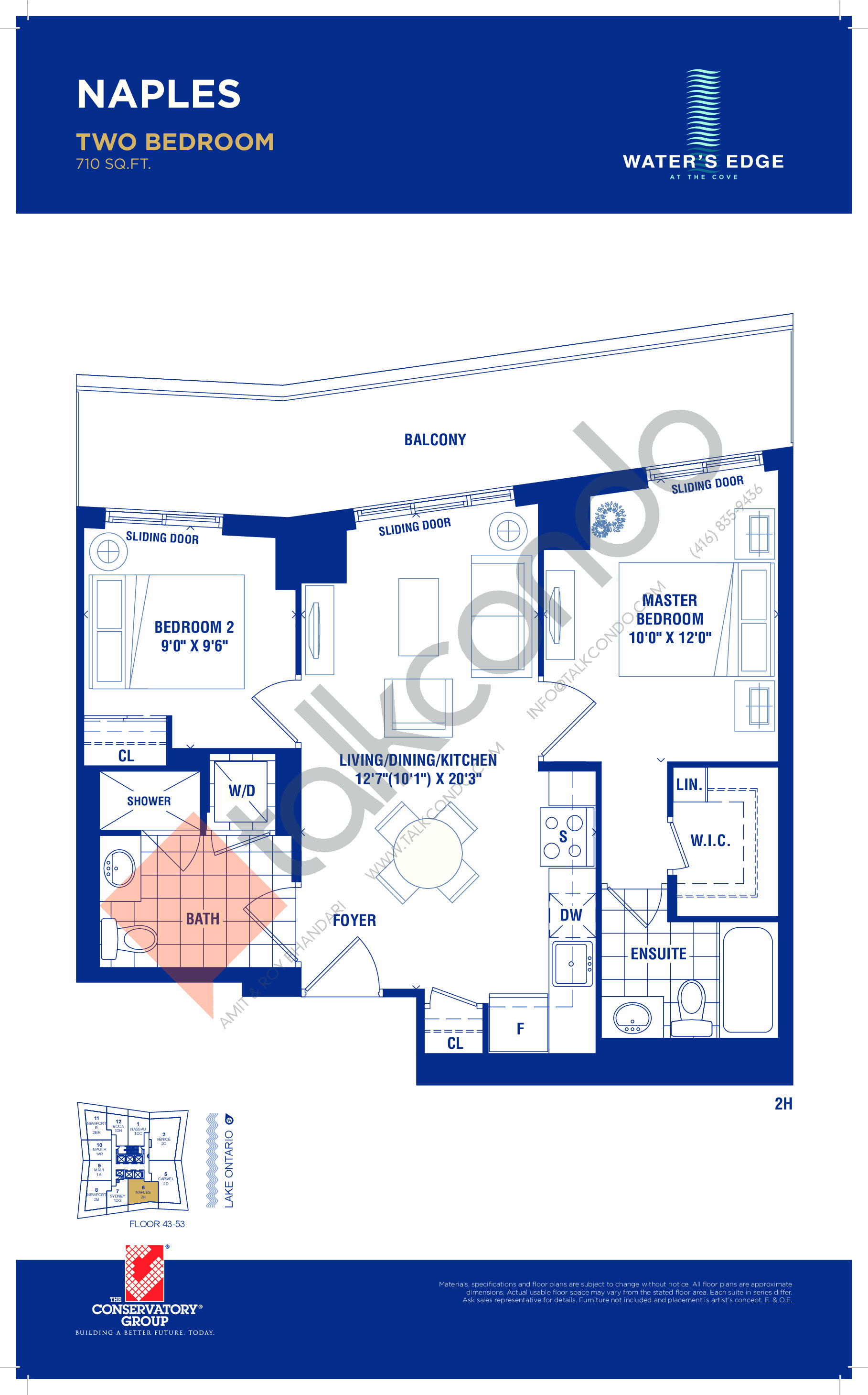 Naples Floor Plan at Water's Edge at the Cove Condos - 710 sq.ft