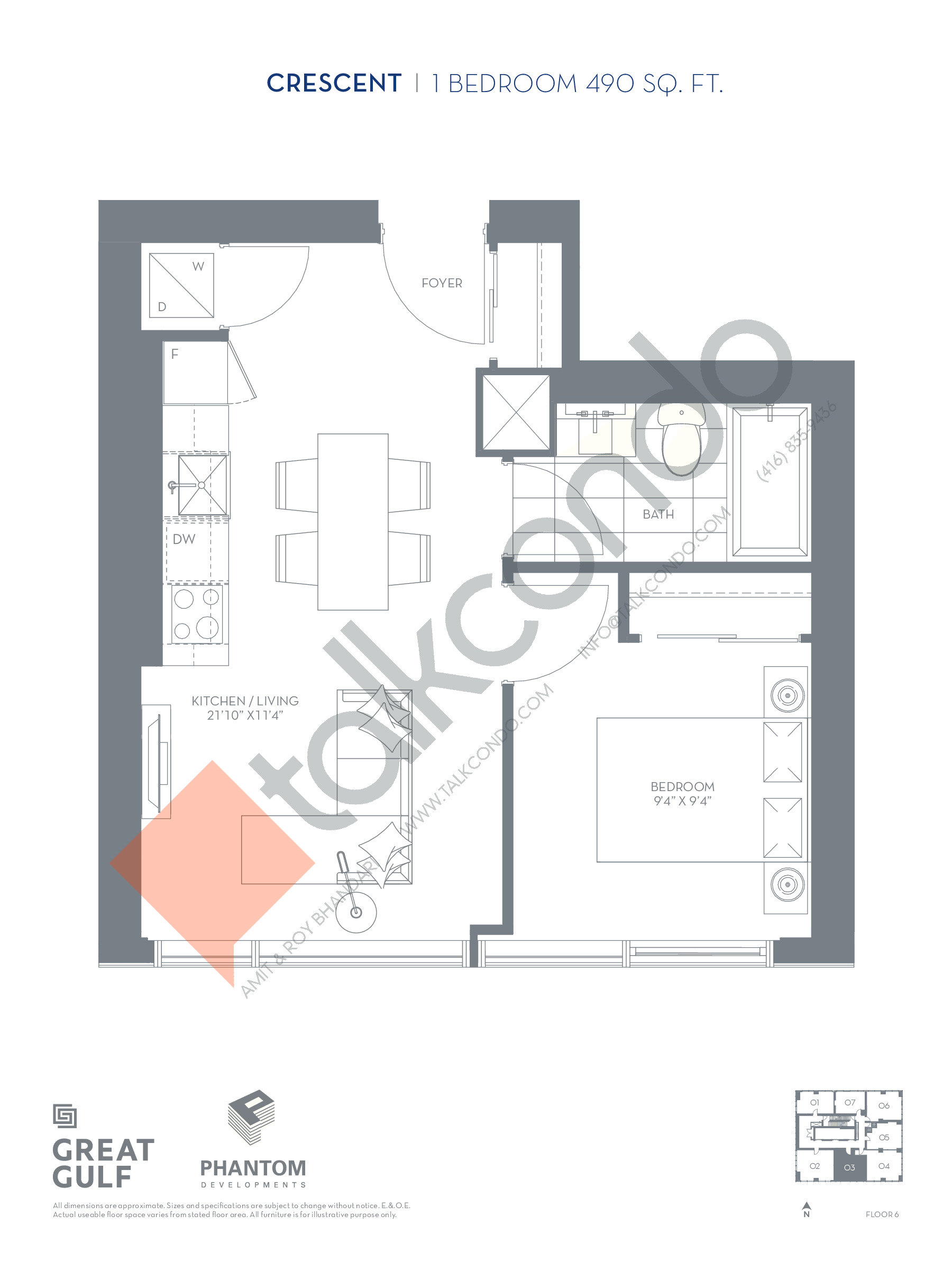 Crescent Floor Plan at 8 Cumberland Condos - 490 sq.ft