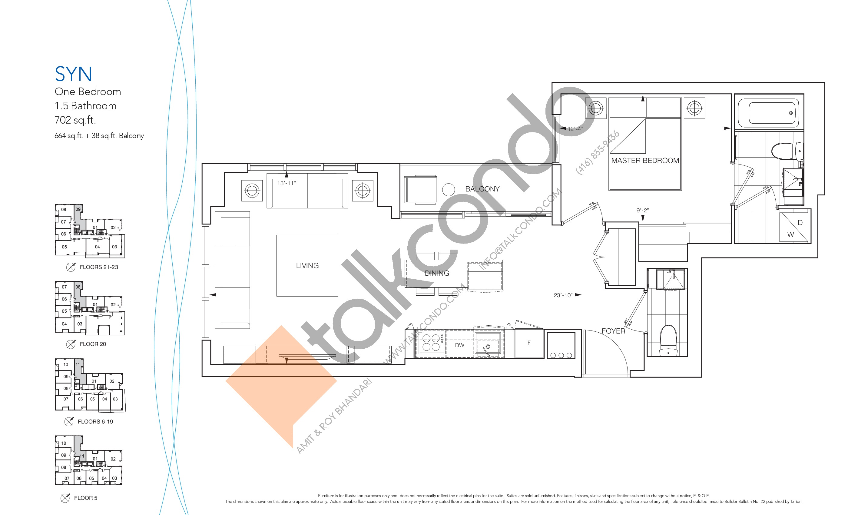 Syn Floor Plan at Nautique Lakefront Residences - 664 sq.ft