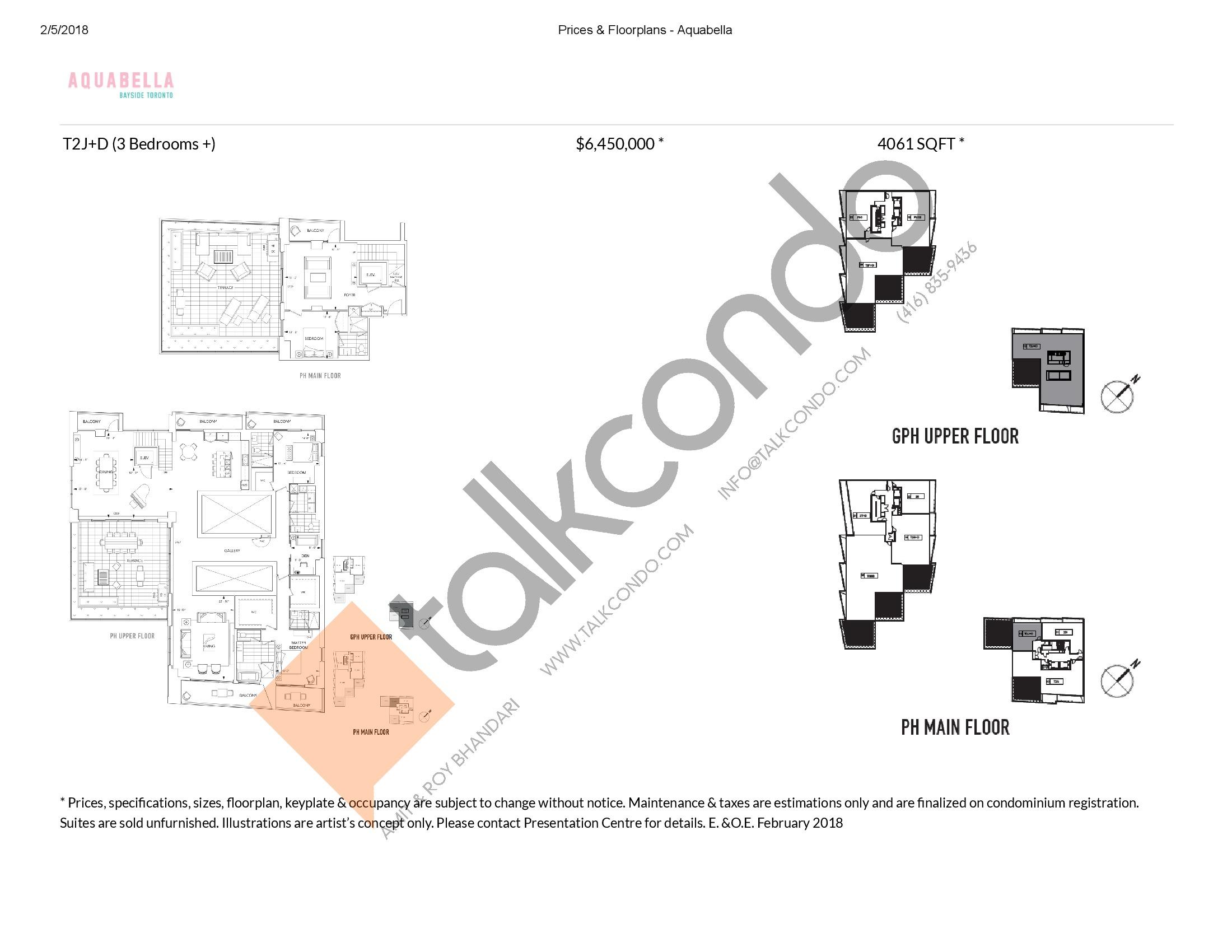 Suite T2J+D Floor Plan at Aquabella Condos - 4061 sq.ft