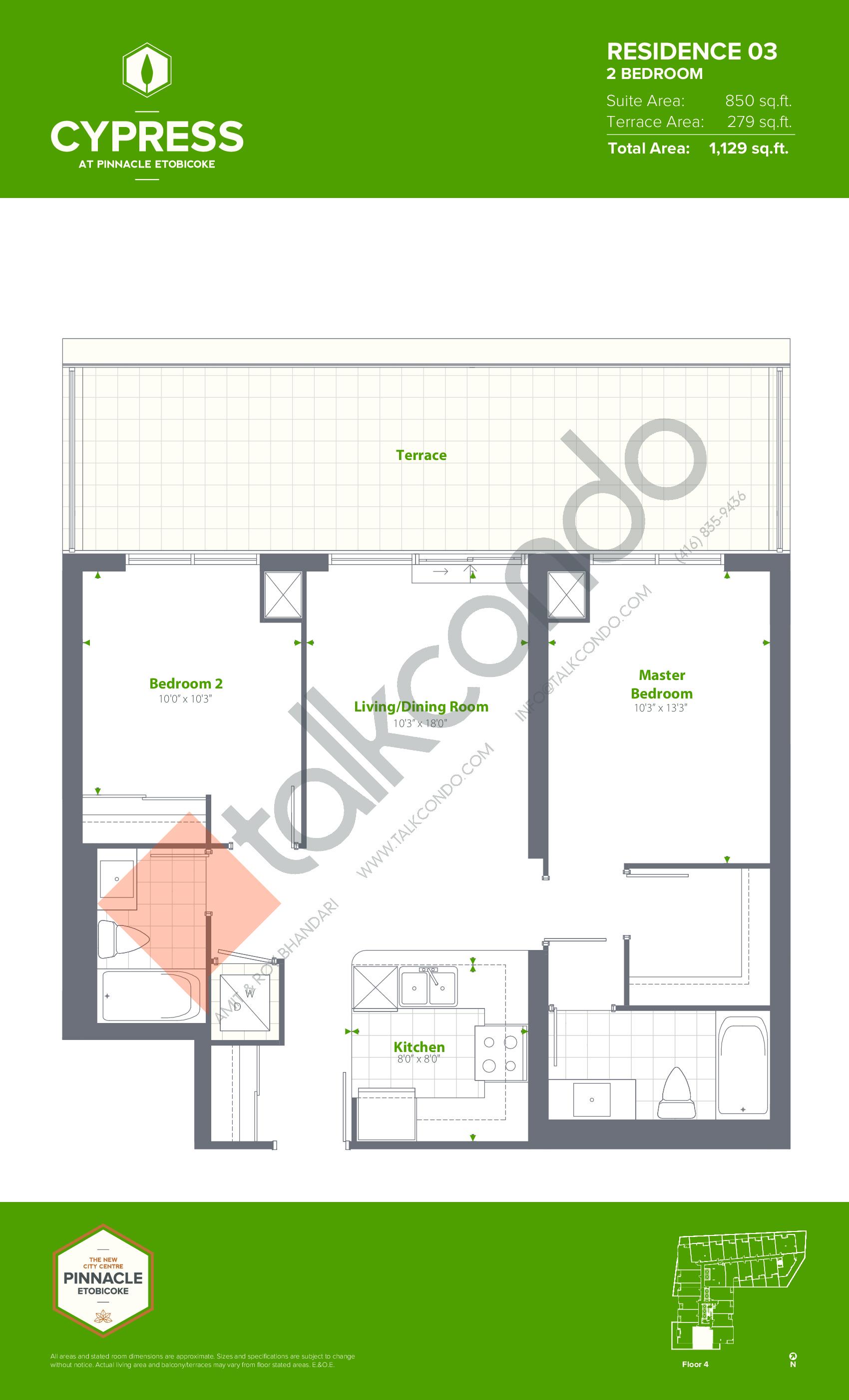 Residence 03 Floor Plan at Cypress at Pinnacle Etobicoke - 850 sq.ft
