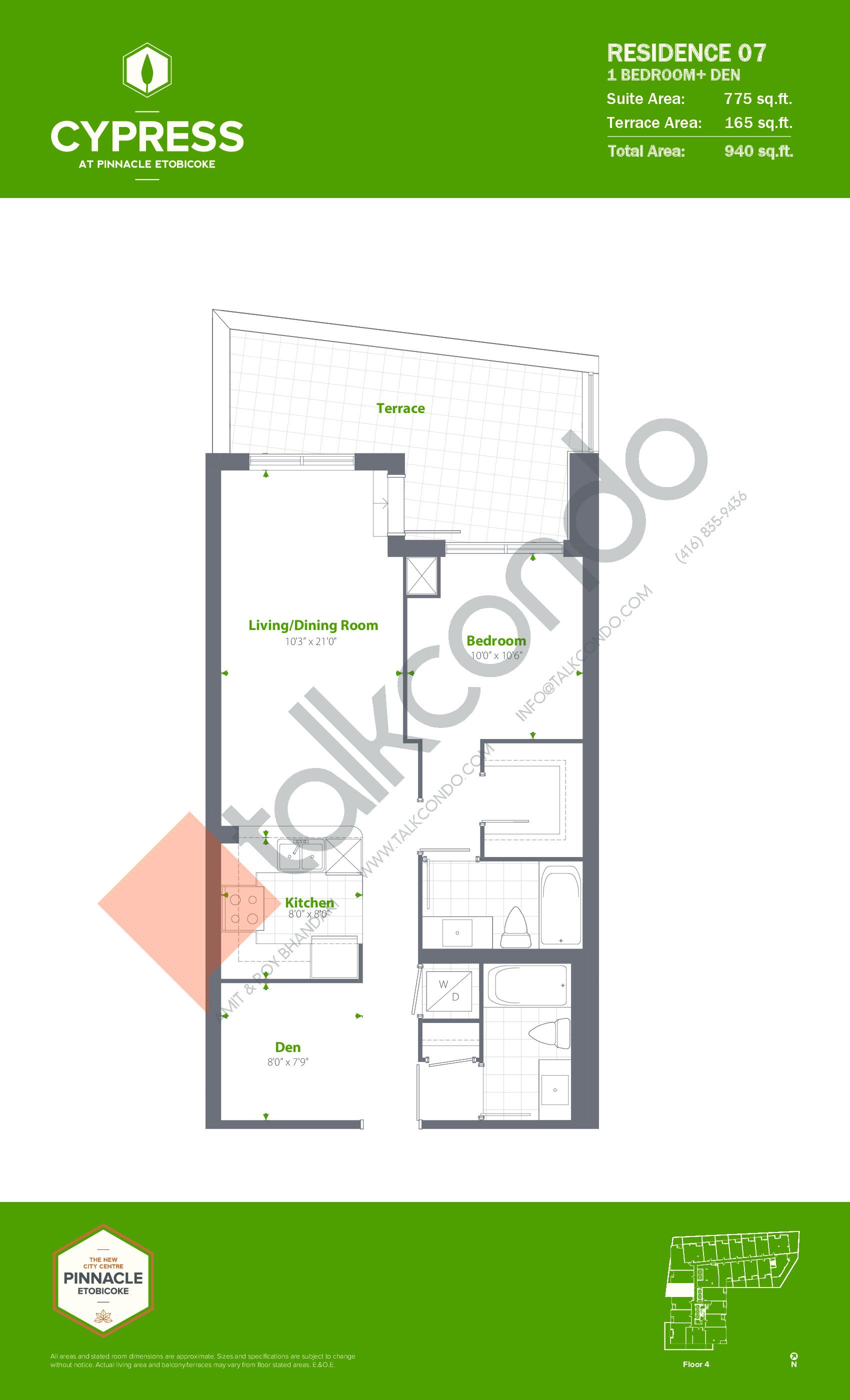 Residence 07 Floor Plan at Cypress at Pinnacle Etobicoke - 775 sq.ft