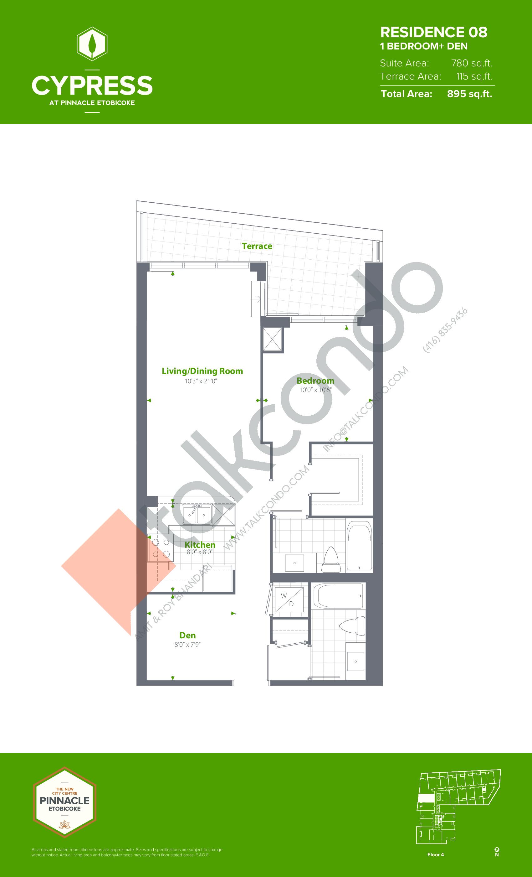 Residence 08 Floor Plan at Cypress at Pinnacle Etobicoke - 780 sq.ft