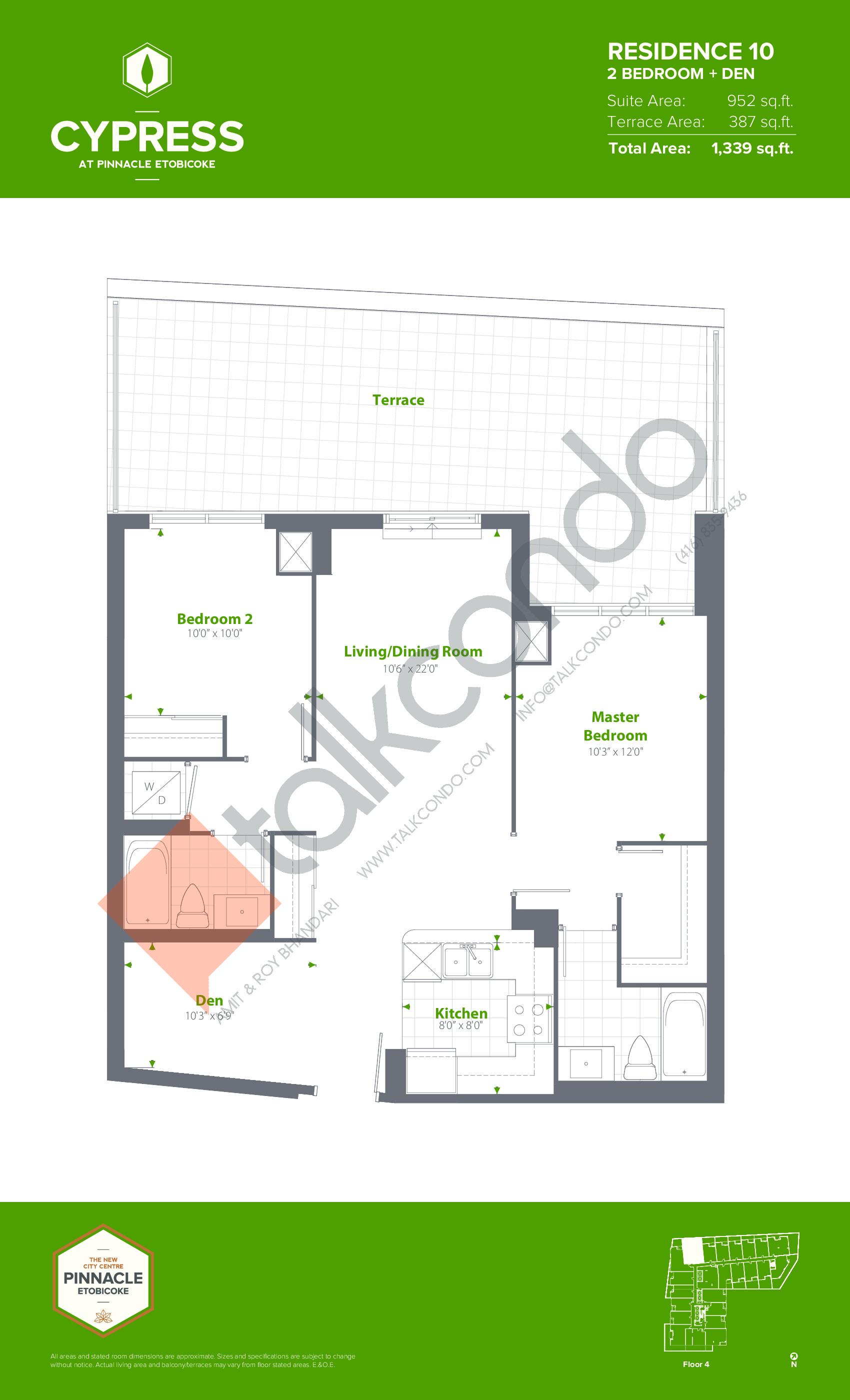 Residence 10 Floor Plan at Cypress at Pinnacle Etobicoke - 952 sq.ft