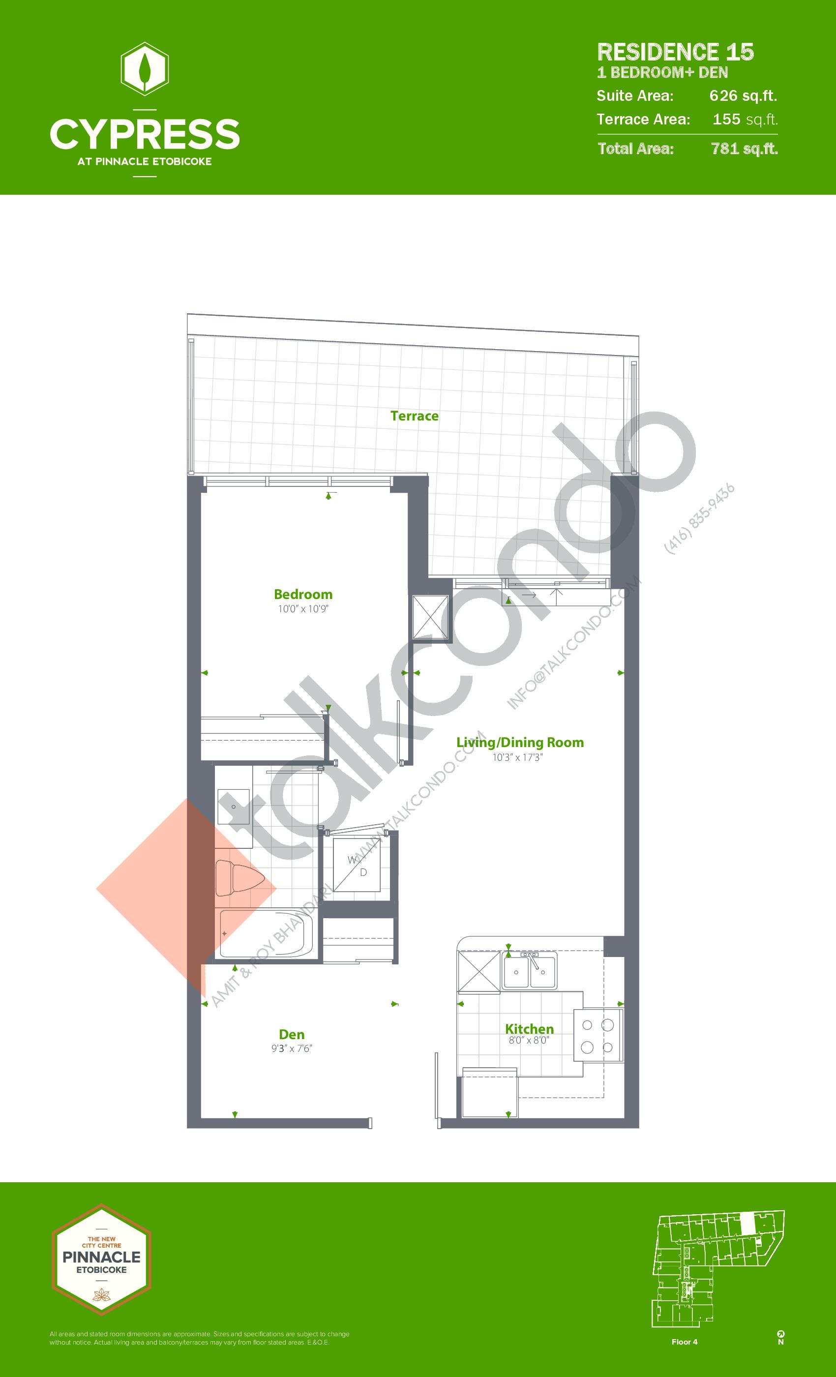 Residence 15 Floor Plan at Cypress at Pinnacle Etobicoke - 626 sq.ft
