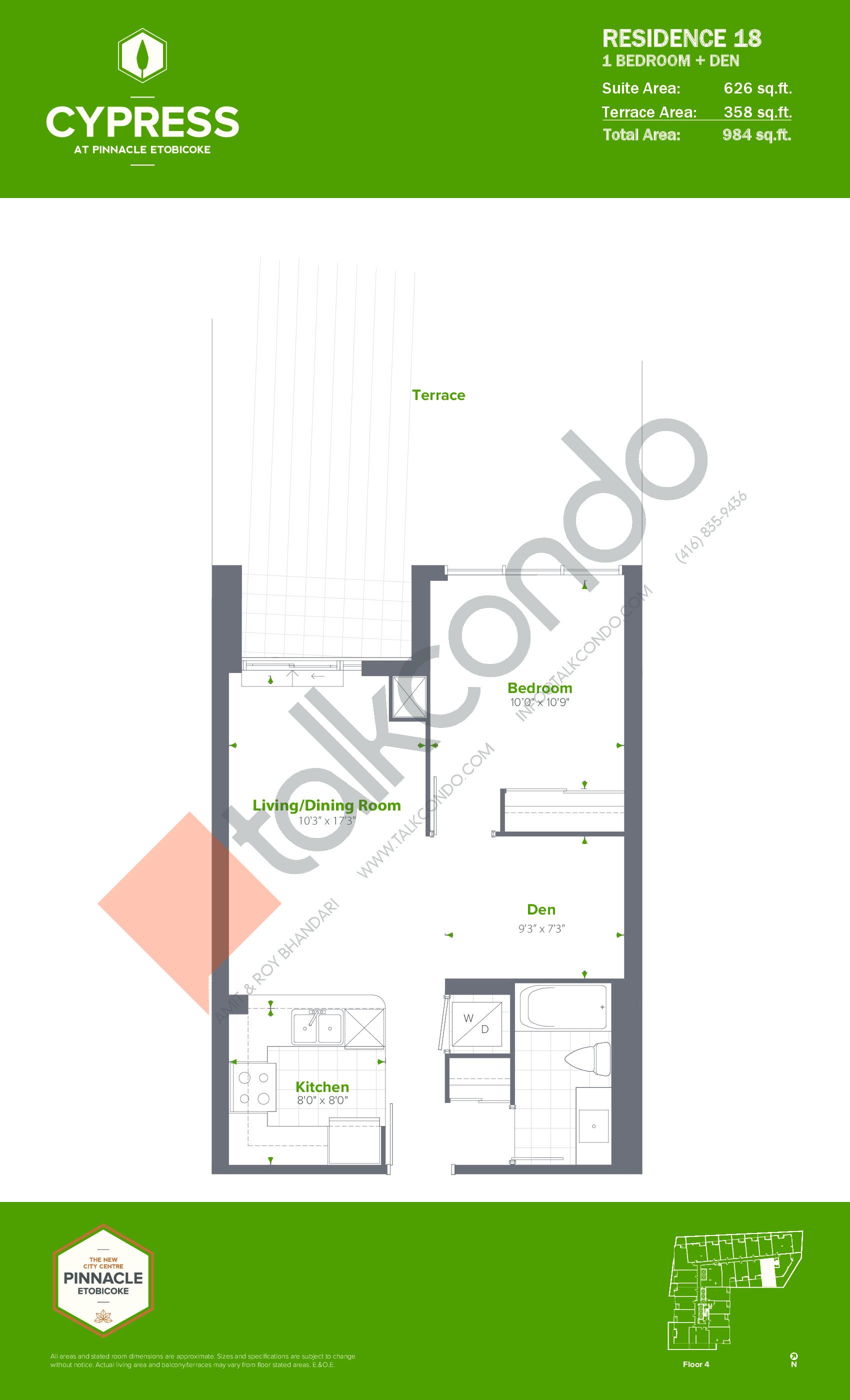 Residence 18 Floor Plan at Cypress at Pinnacle Etobicoke - 626 sq.ft