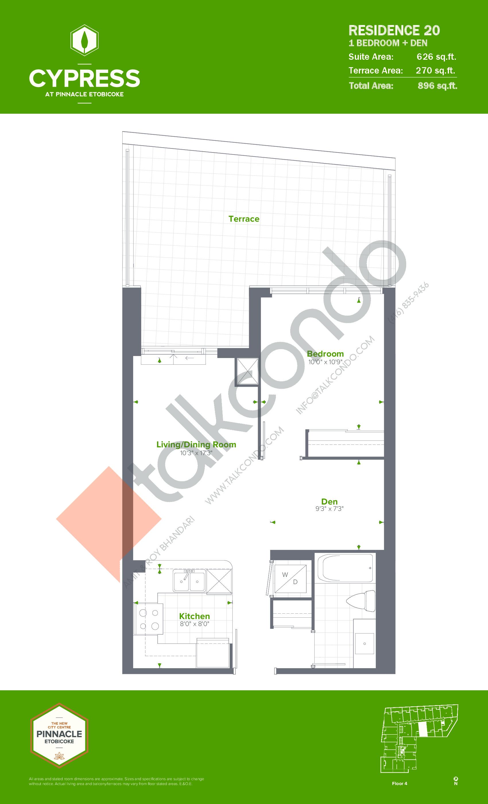 Residence 20 Floor Plan at Cypress at Pinnacle Etobicoke - 626 sq.ft