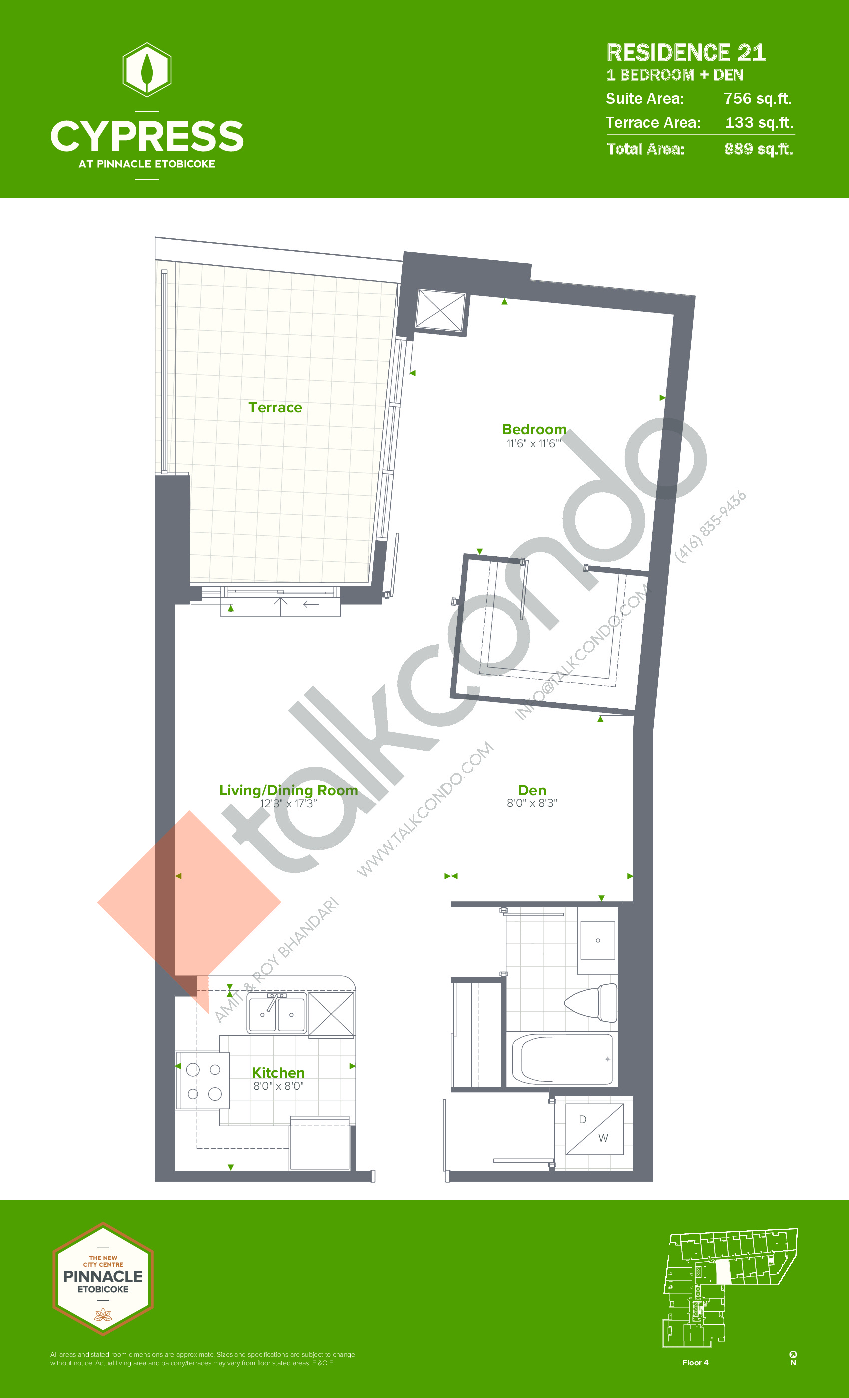 Residence 21 Floor Plan at Cypress at Pinnacle Etobicoke - 756 sq.ft