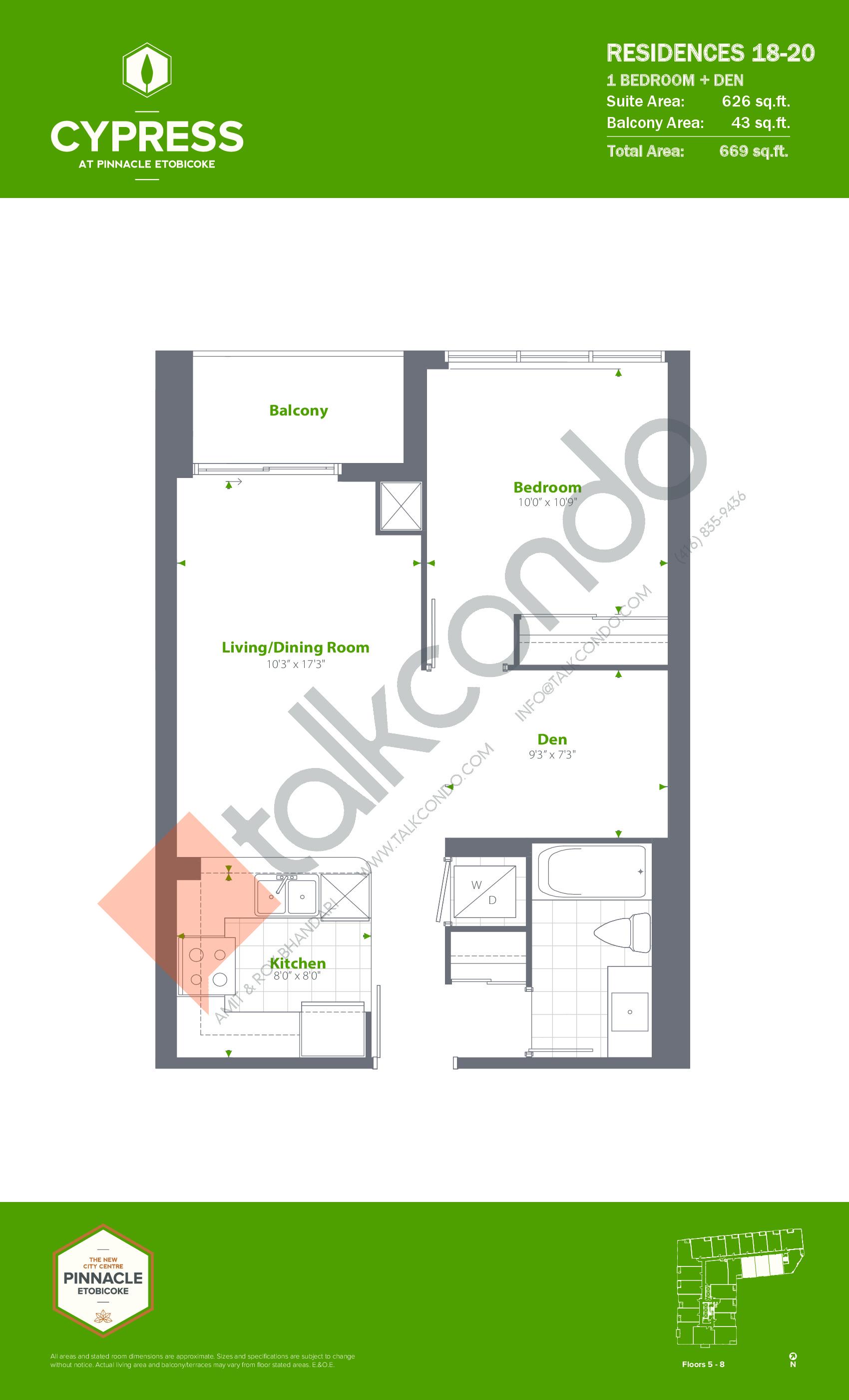 Residence 18-20 Floor Plan at Cypress at Pinnacle Etobicoke - 626 sq.ft