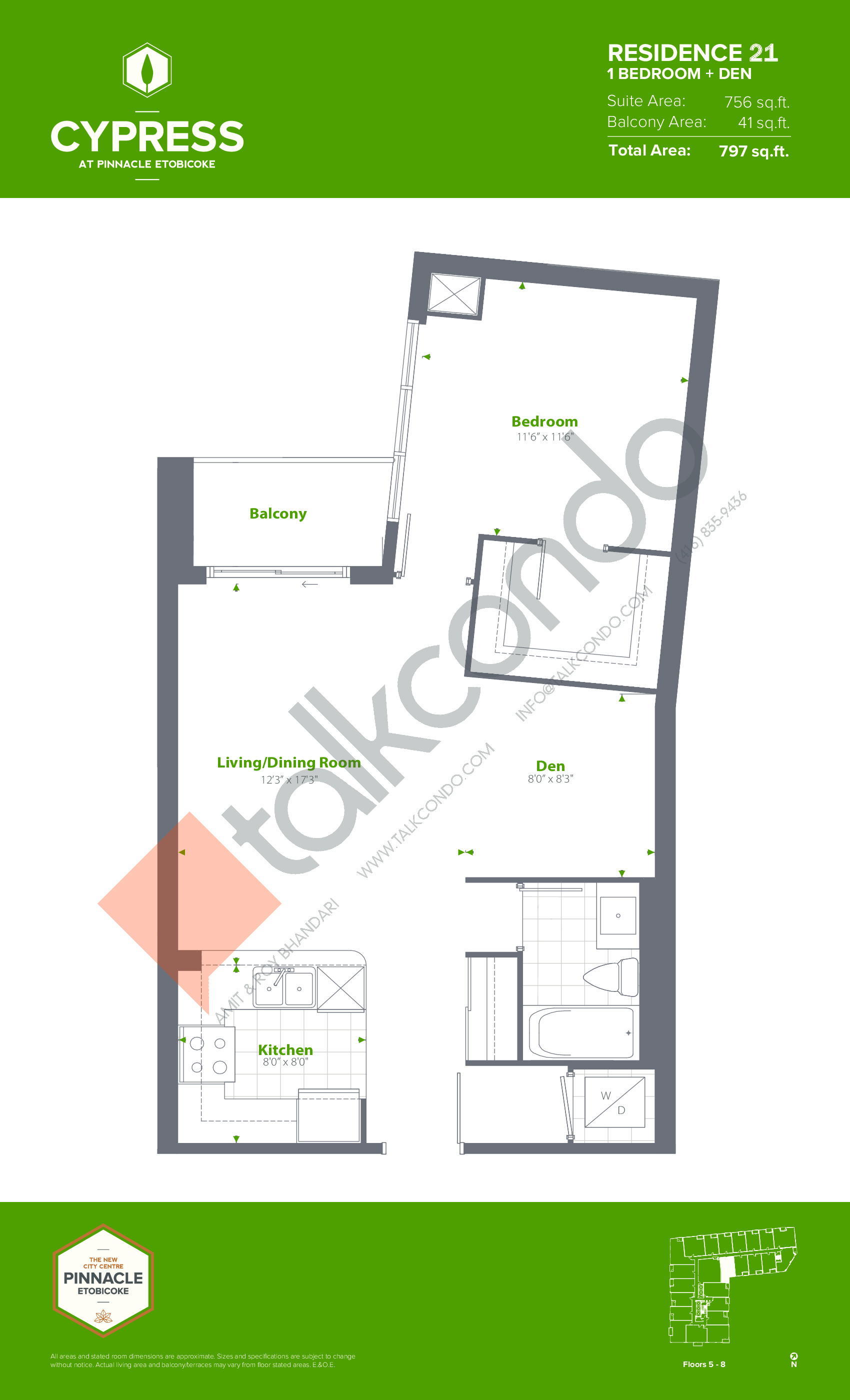 Residence 21 Floor Plan at Cypress at Pinnacle Etobicoke - 756 sq.ft