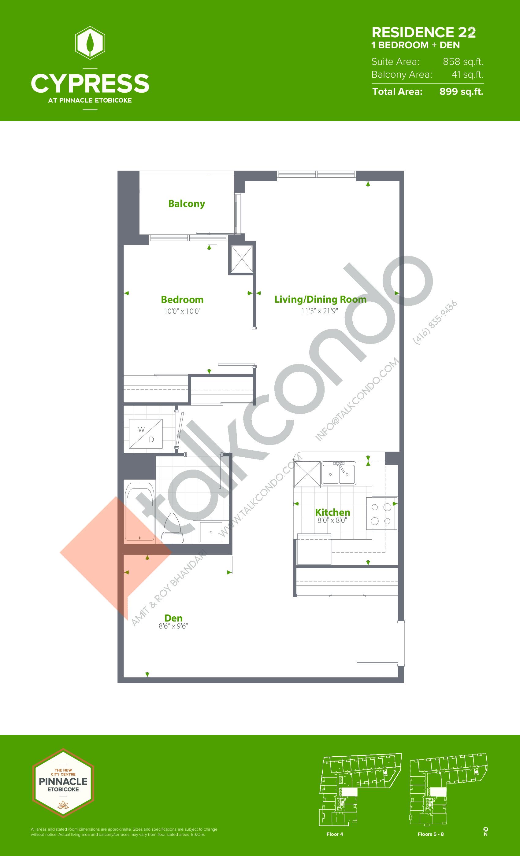 Residence 22 Floor Plan at Cypress at Pinnacle Etobicoke - 858 sq.ft
