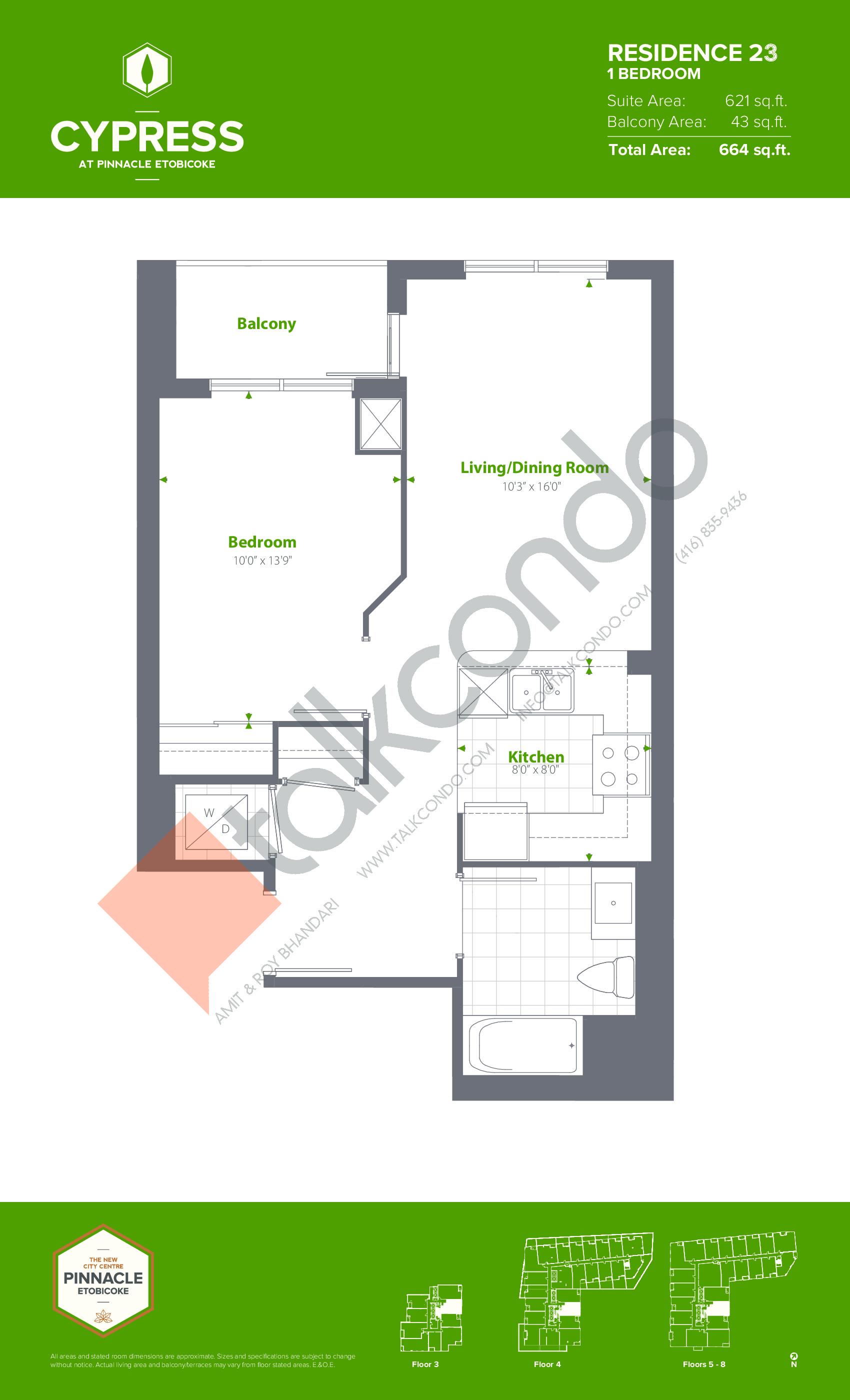 Residence 23 Floor Plan at Cypress at Pinnacle Etobicoke - 621 sq.ft