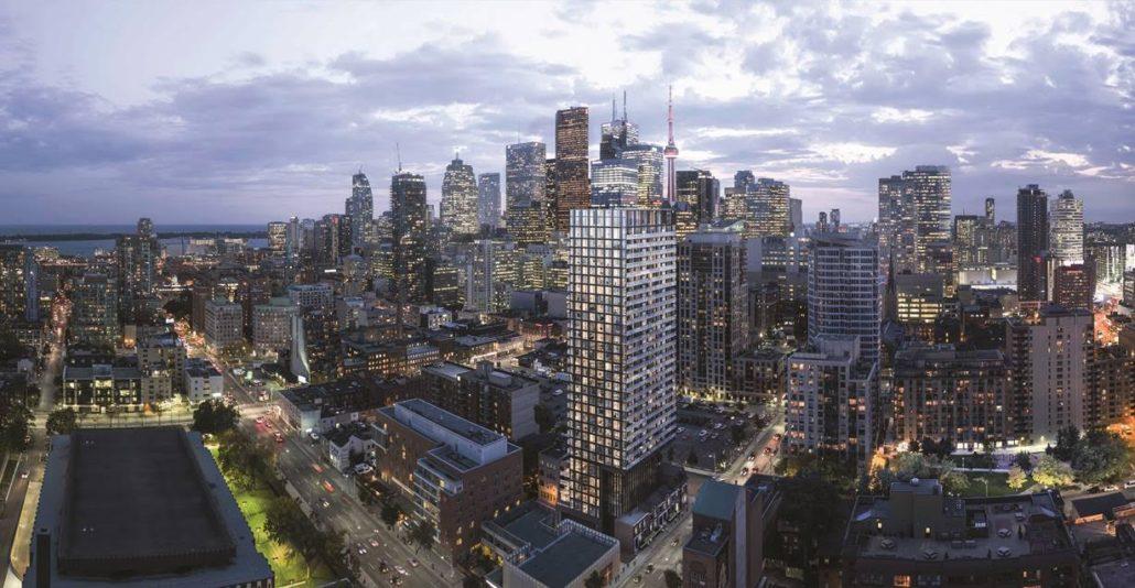 Aerial view of Garden District Condos over Downtown Toronto