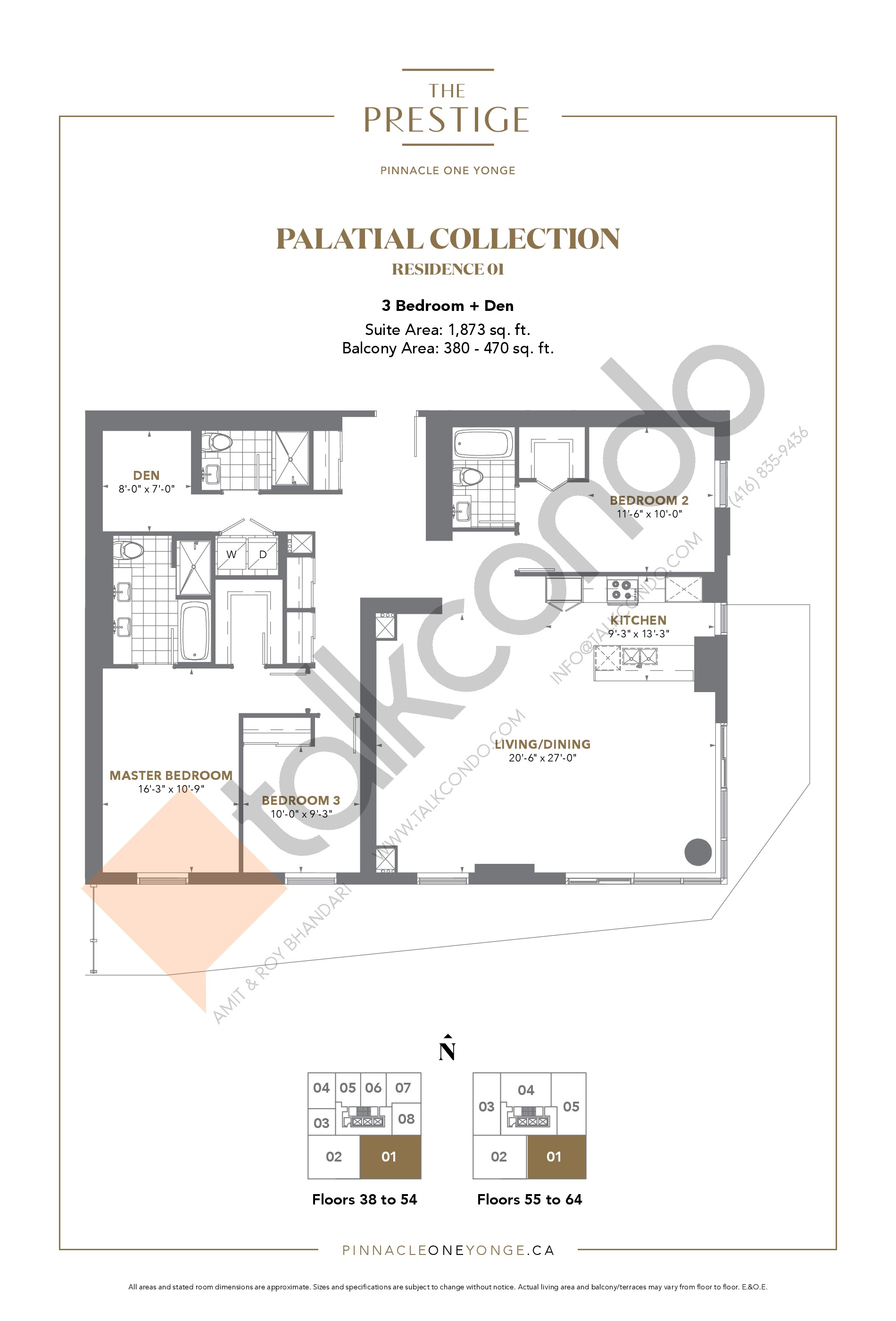 Palatial Collection - Residence 01 Floor Plan at The Prestige Condos at Pinnacle One Yonge - 1873 sq.ft