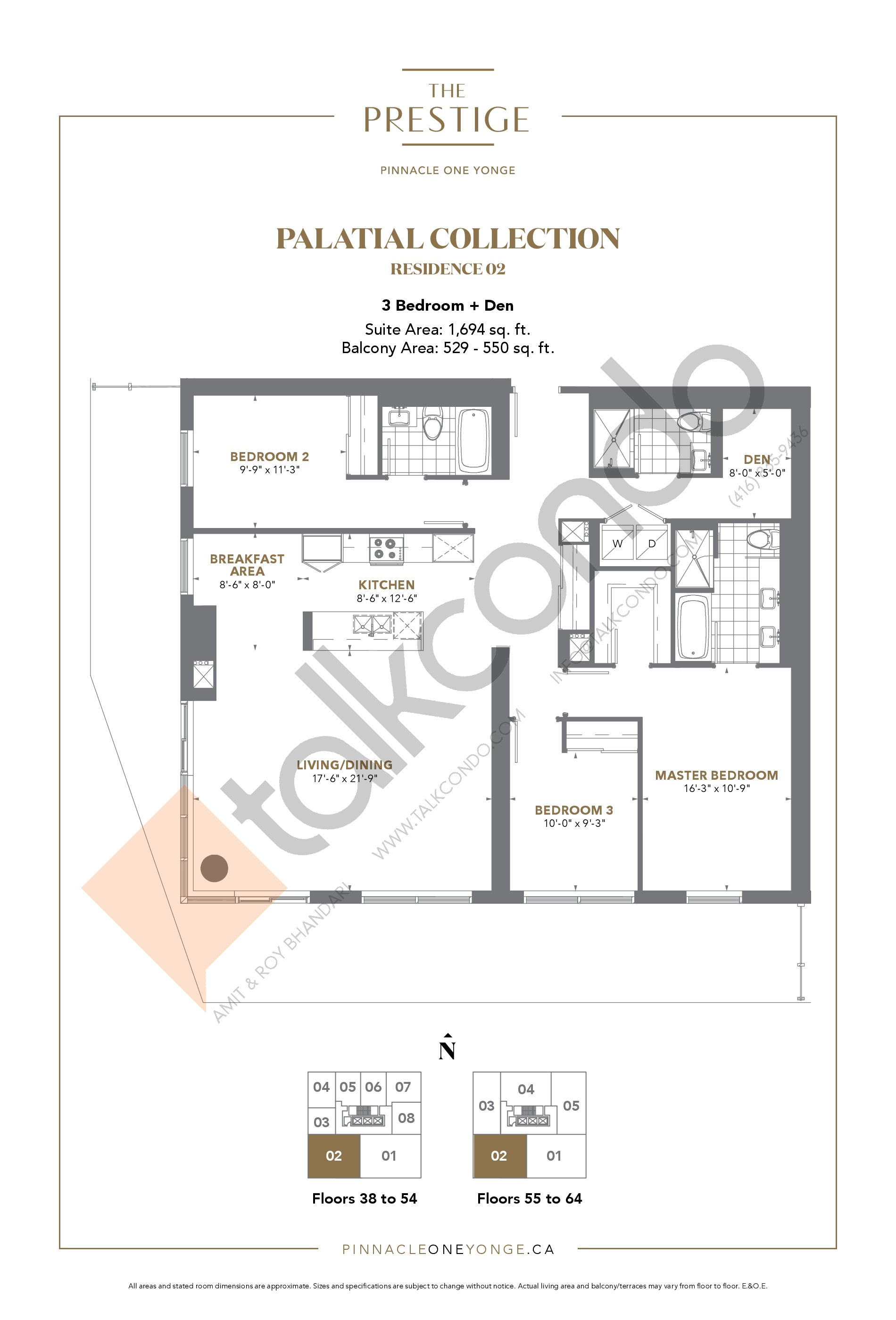 Palatial Collection - Residence 02 Floor Plan at The Prestige Condos at Pinnacle One Yonge - 1694 sq.ft