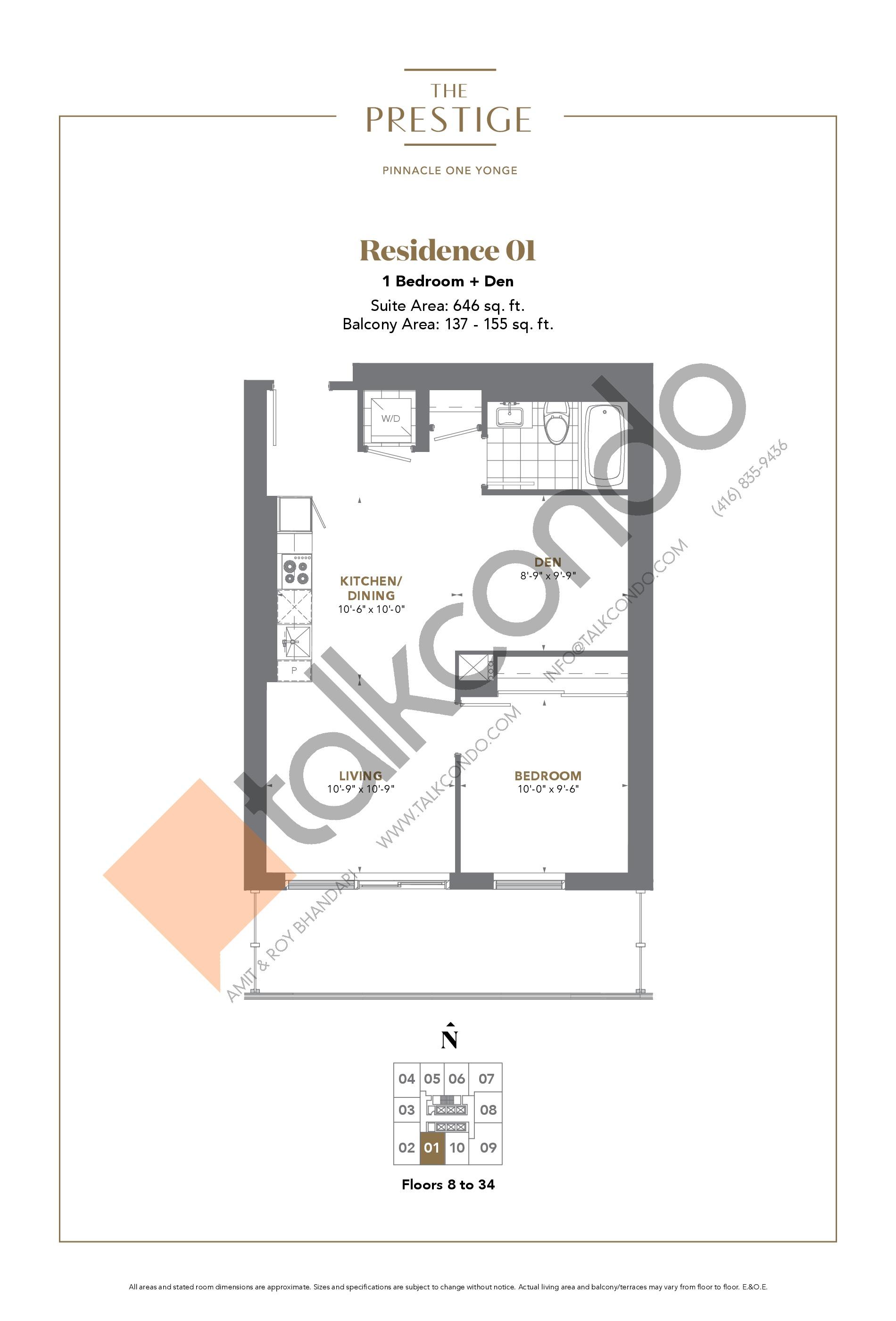 Residence 01 Floor Plan at The Prestige Condos at Pinnacle One Yonge - 646 sq.ft