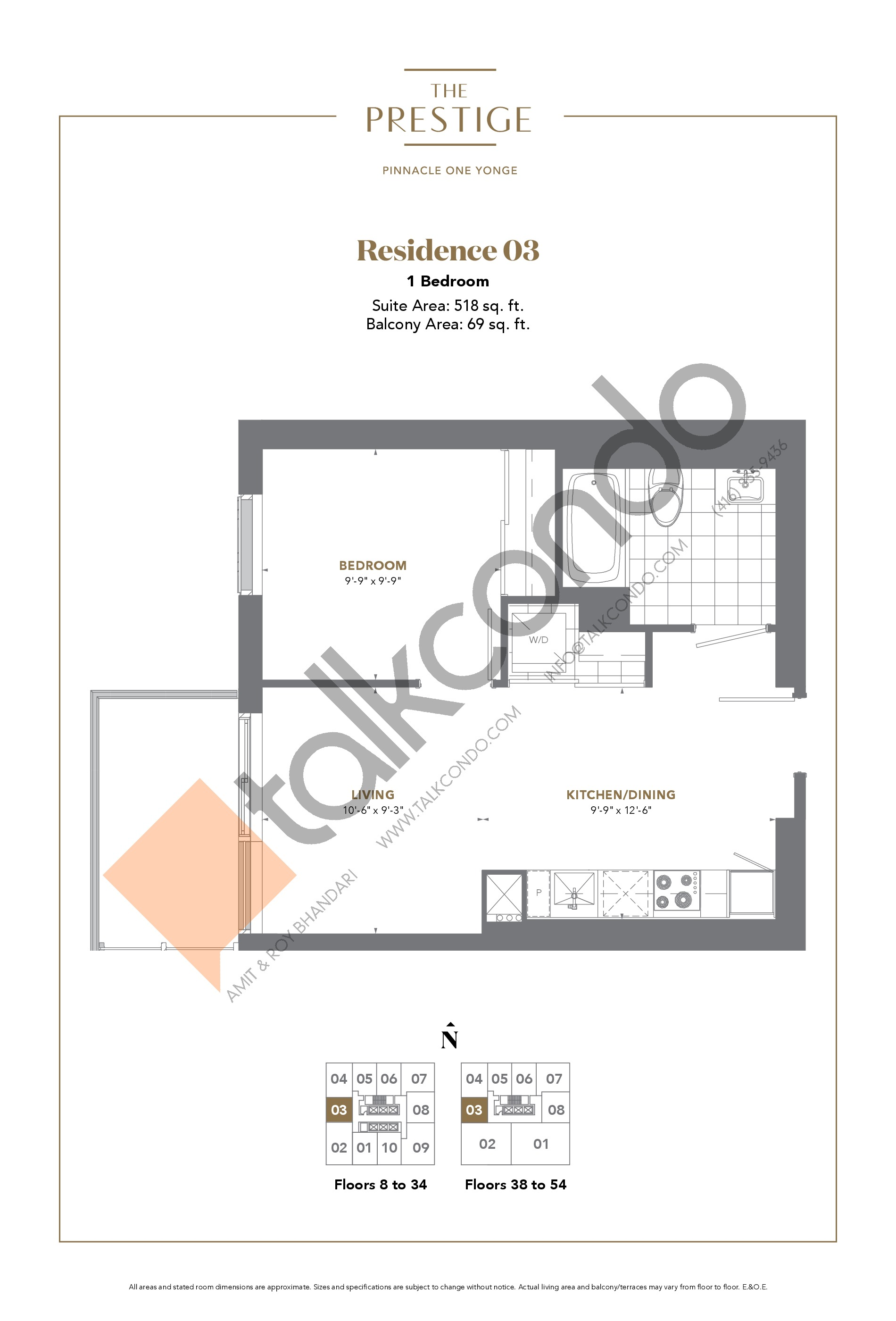 Residence 03 Floor Plan at The Prestige Condos at Pinnacle One Yonge - 518 sq.ft