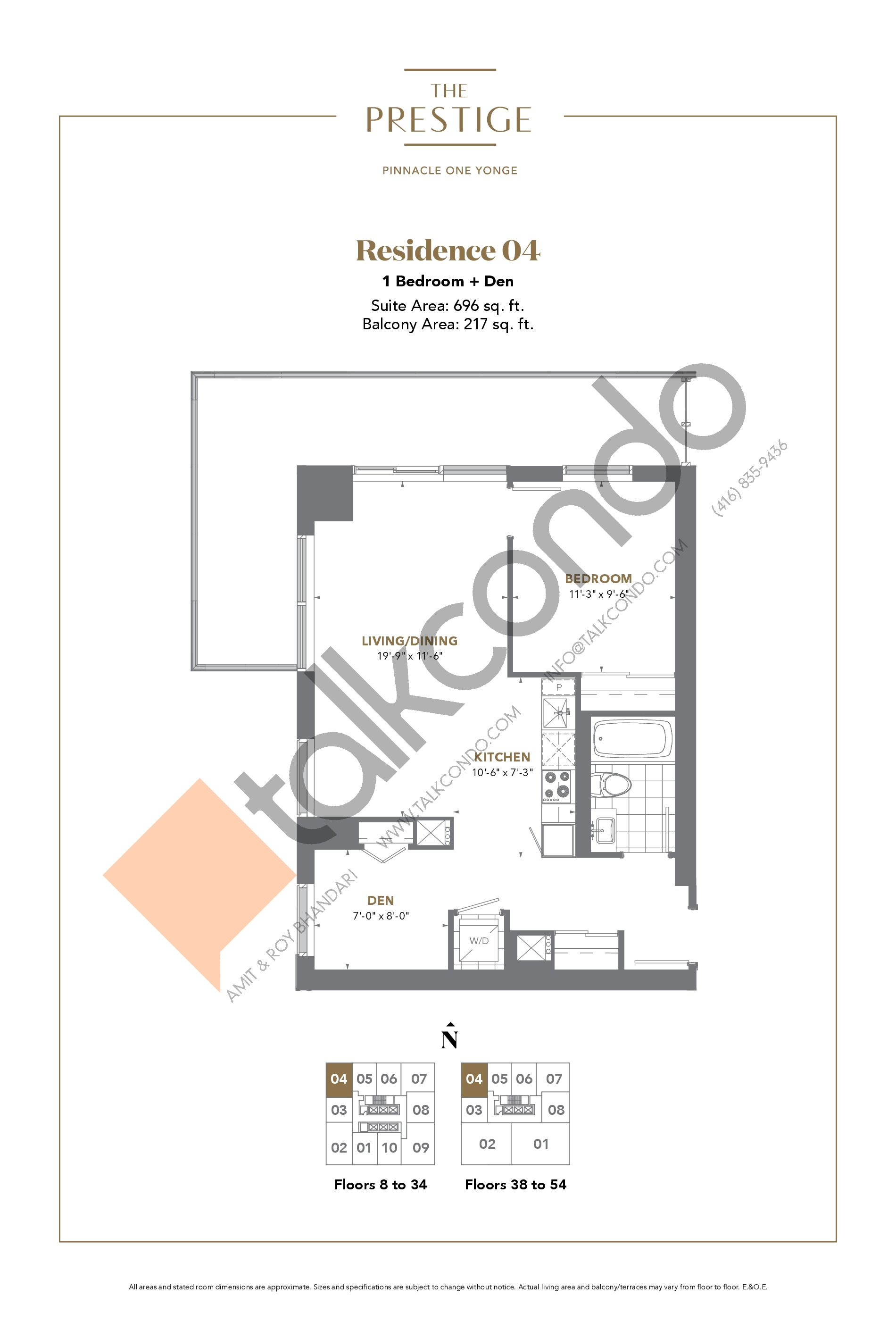Residence 04 Floor Plan at The Prestige Condos at Pinnacle One Yonge - 696 sq.ft