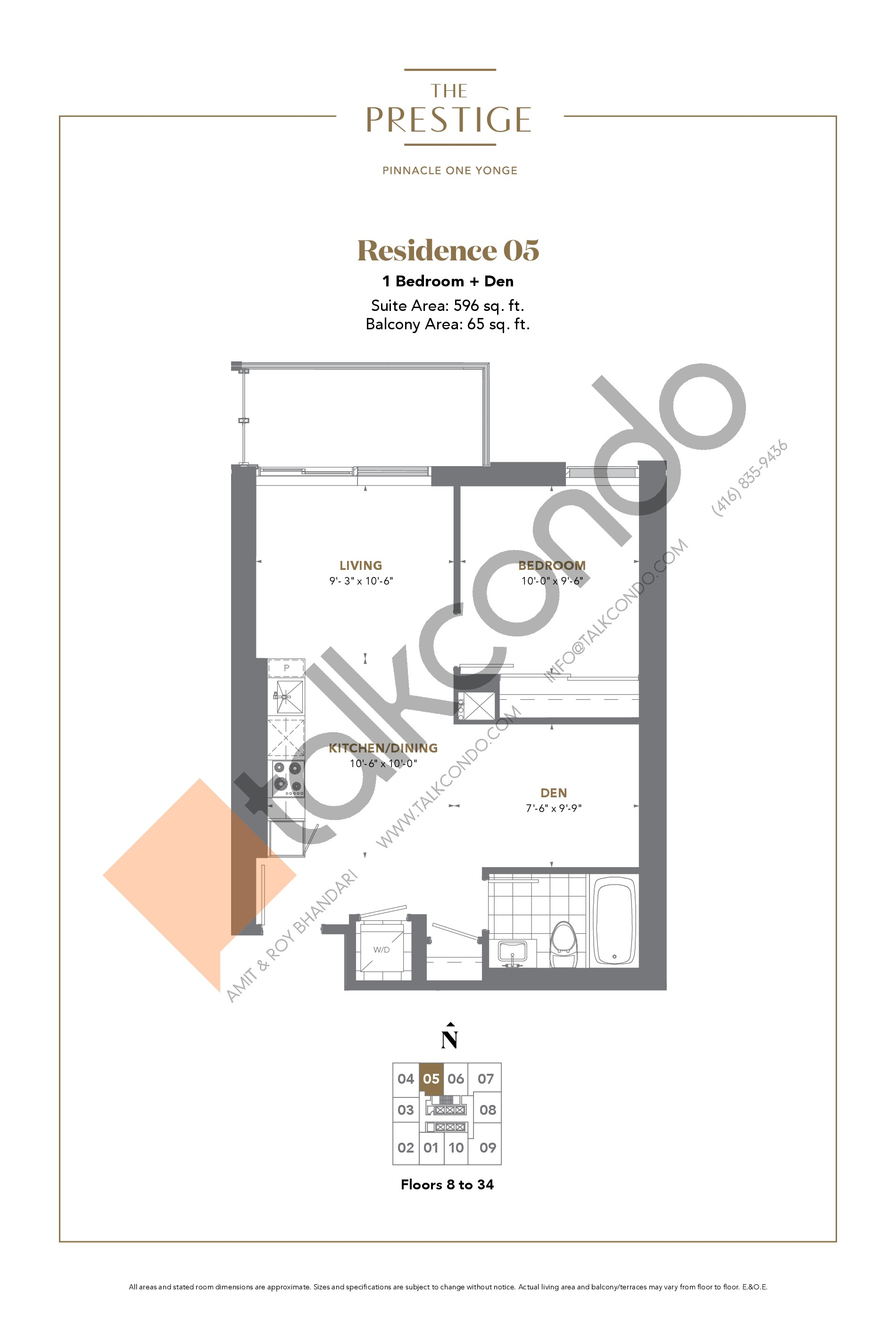 Residence 05 Floor Plan at The Prestige Condos at Pinnacle One Yonge - 596 sq.ft