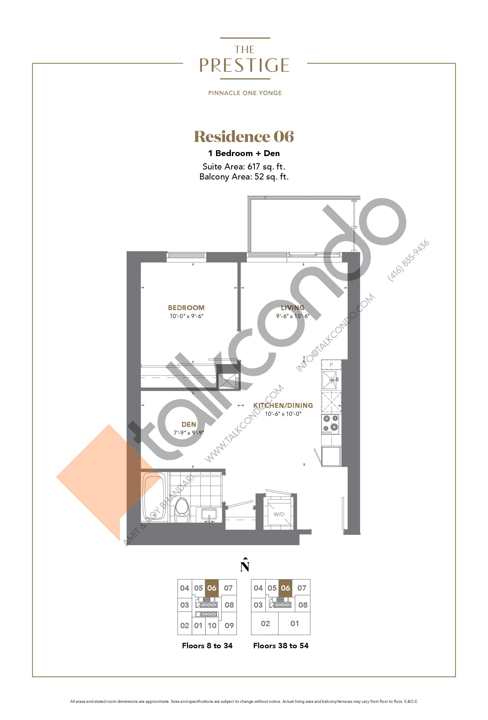 Residence 06 Floor Plan at The Prestige Condos at Pinnacle One Yonge - 617 sq.ft