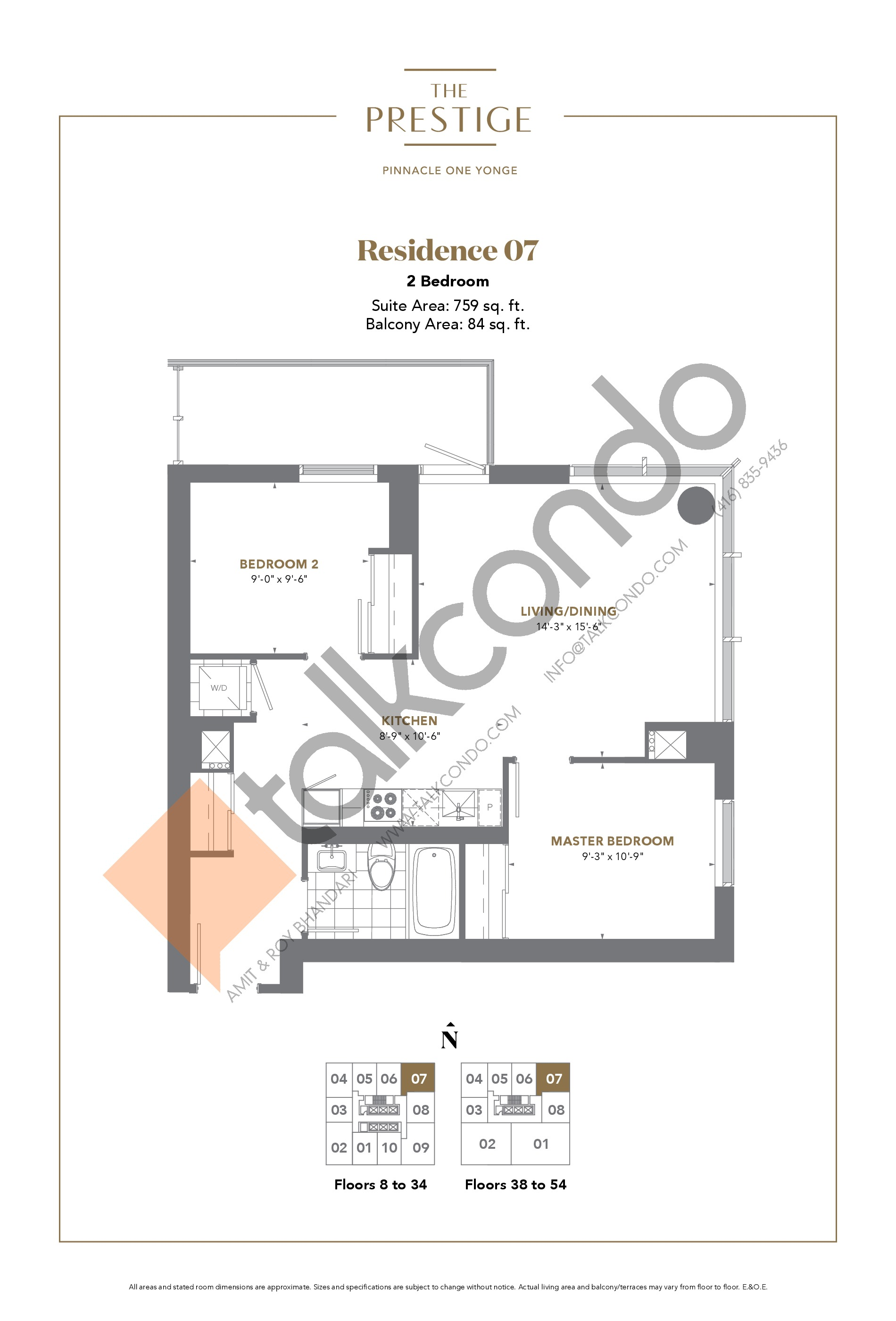 Residence 07 Floor Plan at The Prestige Condos at Pinnacle One Yonge - 759 sq.ft
