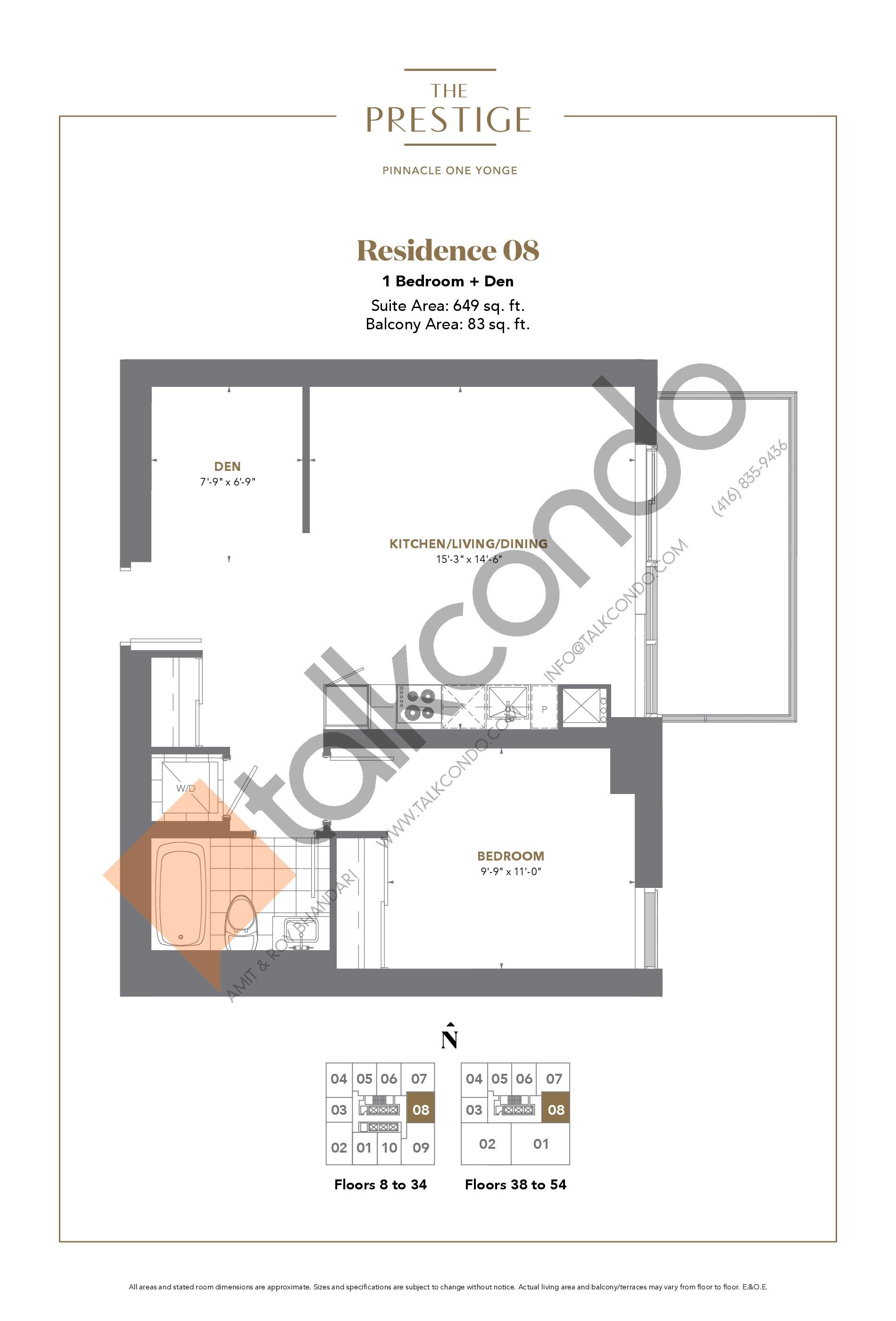 Residence 08 Floor Plan at The Prestige Condos at Pinnacle One Yonge - 649 sq.ft
