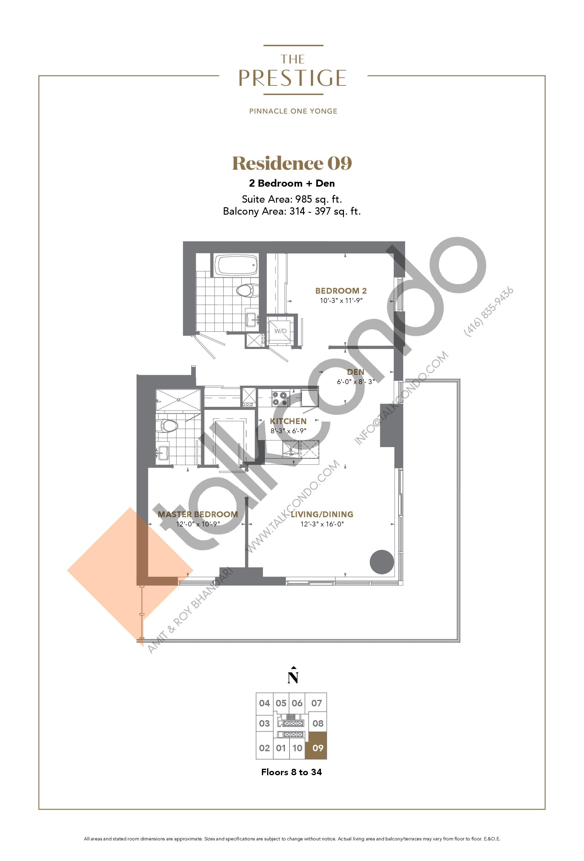 Residence 09 Floor Plan at The Prestige Condos at Pinnacle One Yonge - 985 sq.ft
