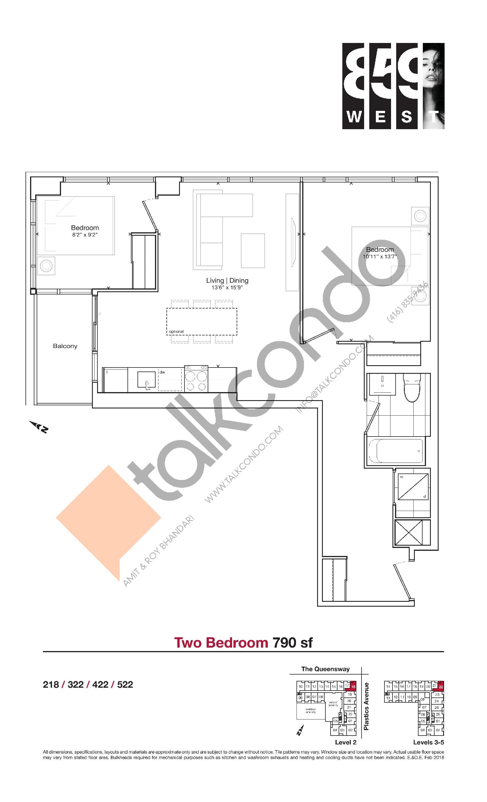 790 sf Floor Plan at 859 West Condos - 790 sq.ft
