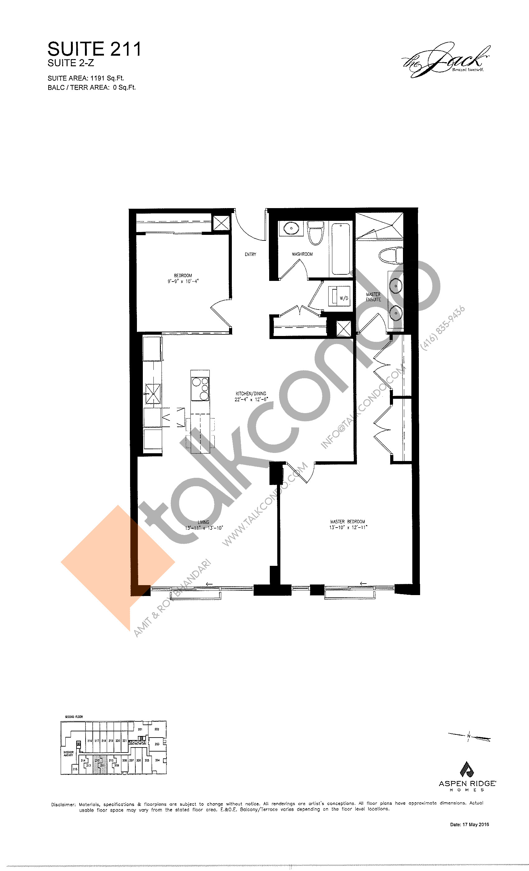 Suite 211 Floor Plan at The Jack Condos - 1191 sq.ft