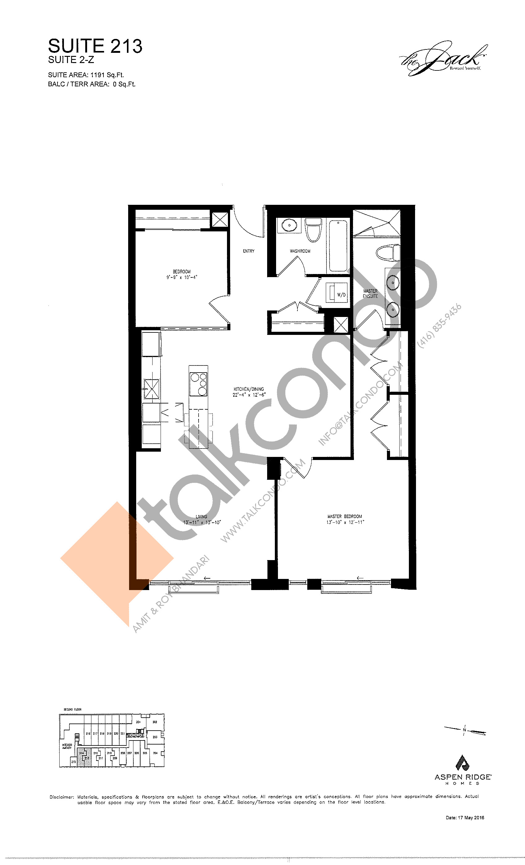Suite 213 Floor Plan at The Jack Condos - 1191 sq.ft