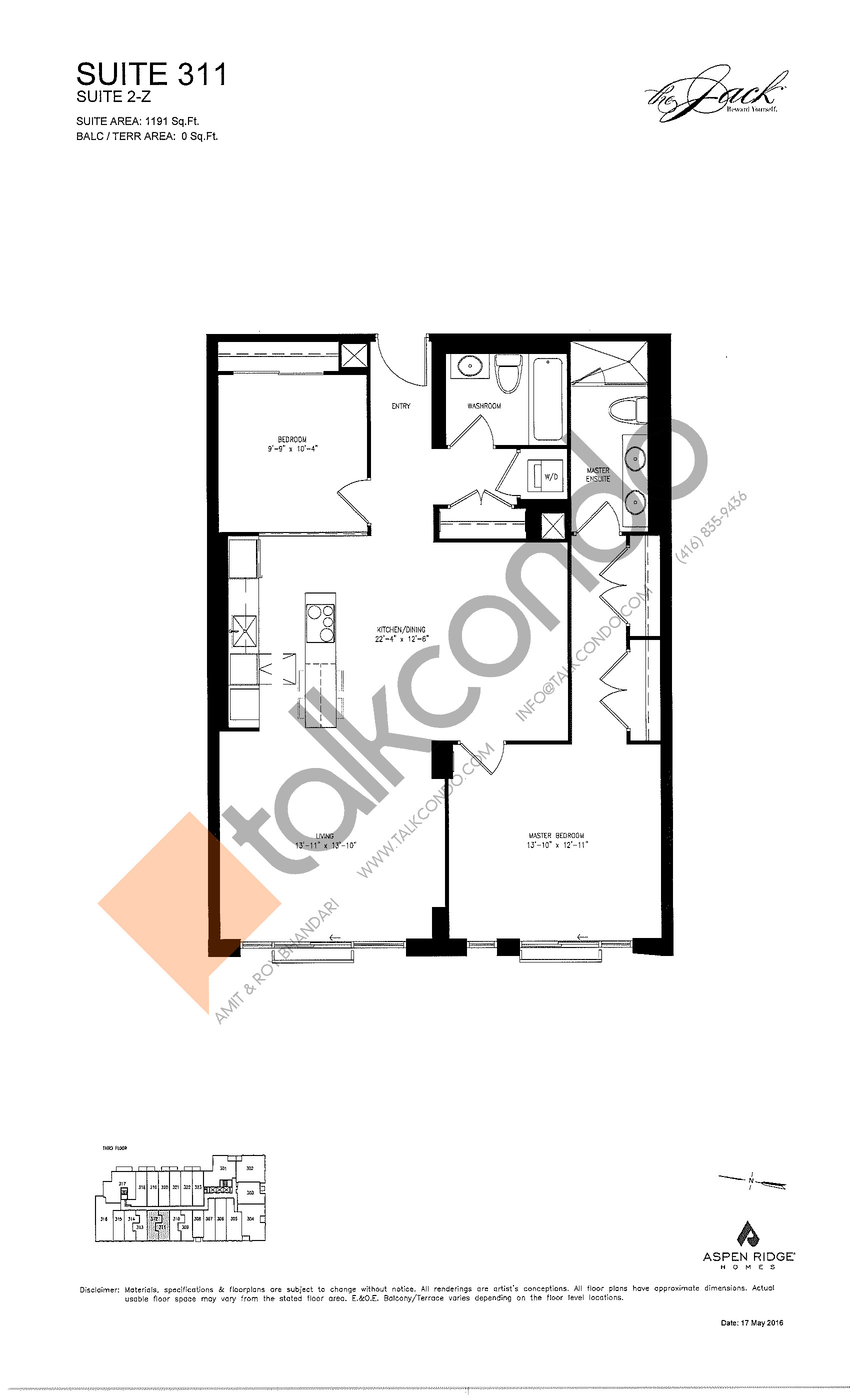 Suite 311 Floor Plan at The Jack Condos - 1191 sq.ft