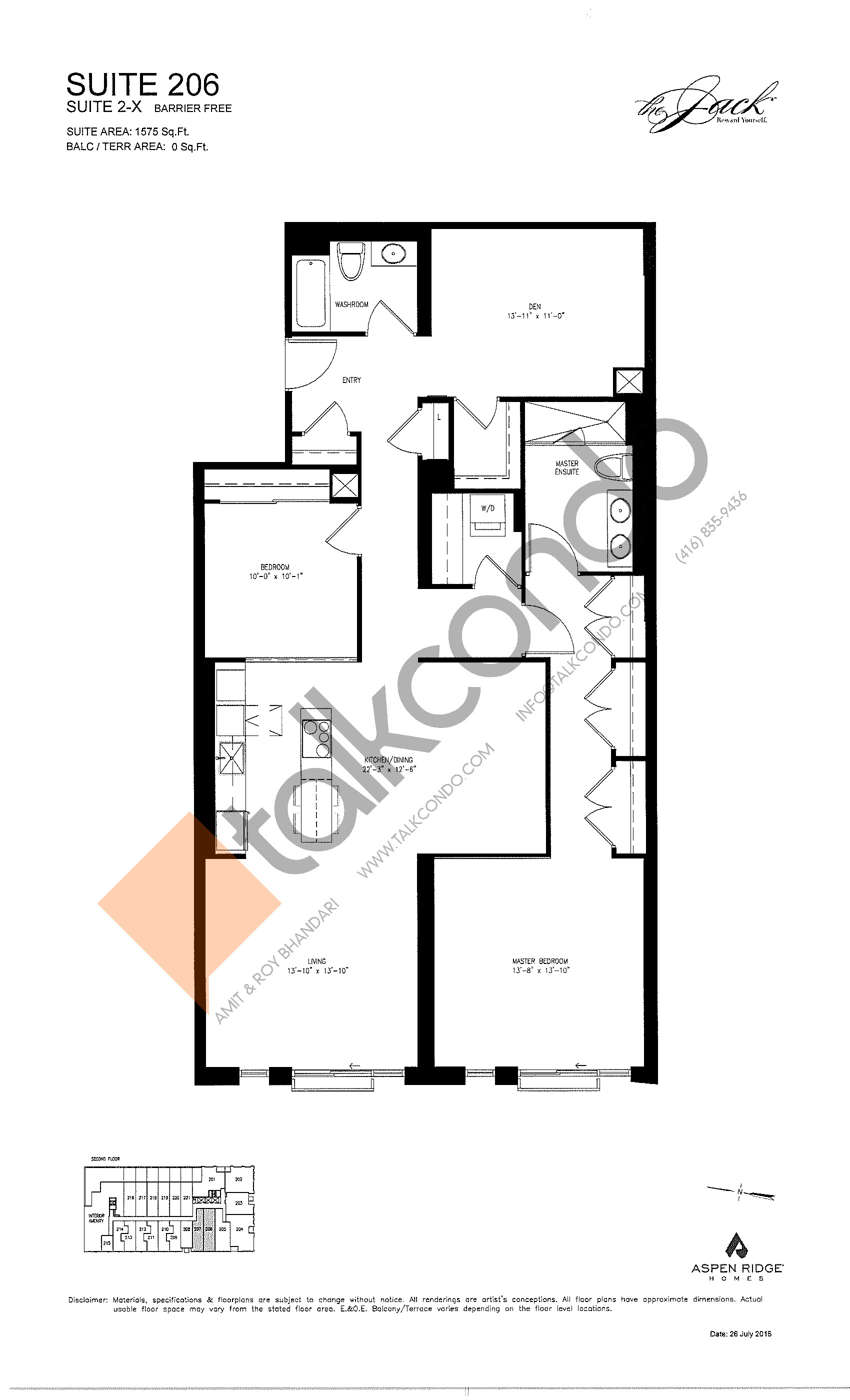 Suite 206 Floor Plan at The Jack Condos - 1575 sq.ft