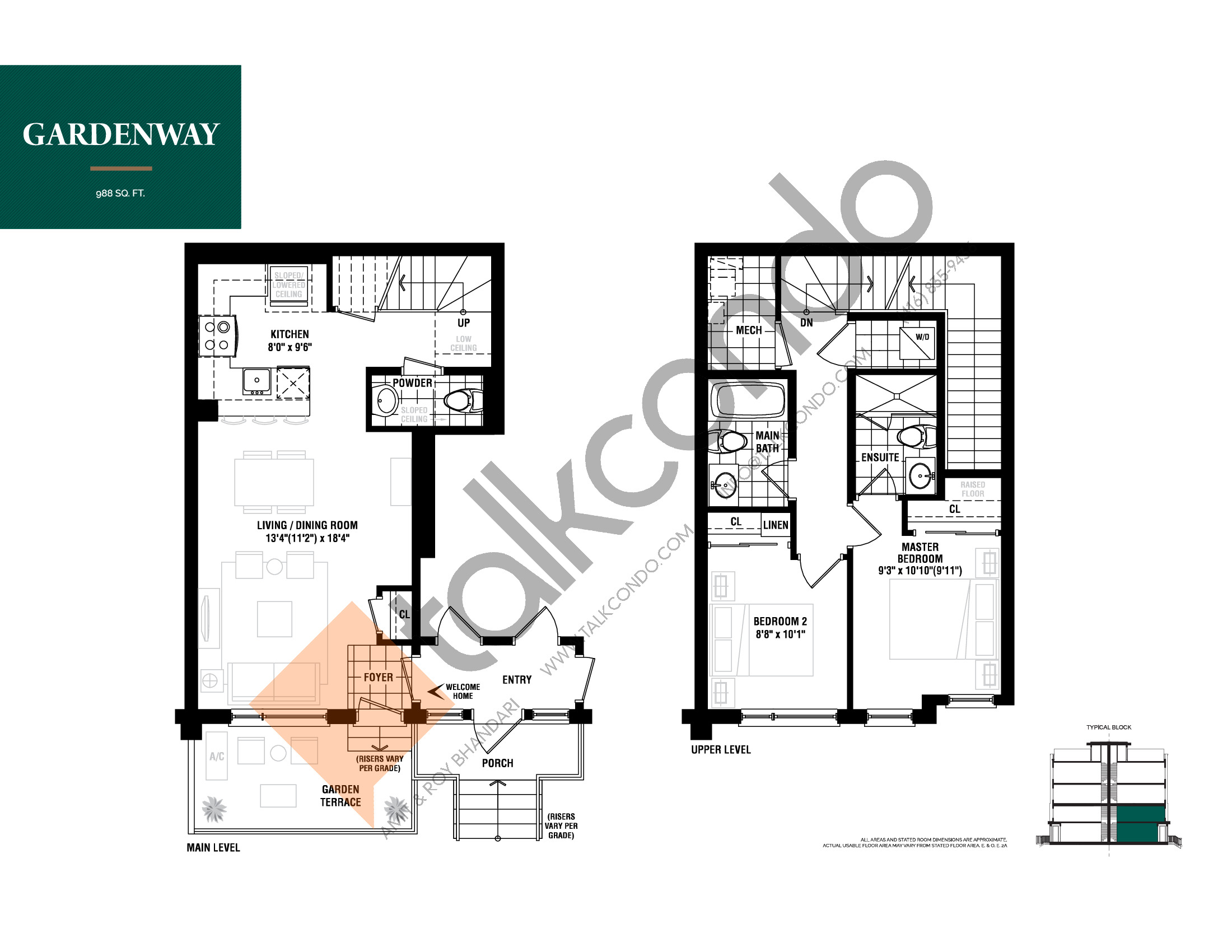 Gardenway Floor Plan at The Way Urban Towns - 988 sq.ft