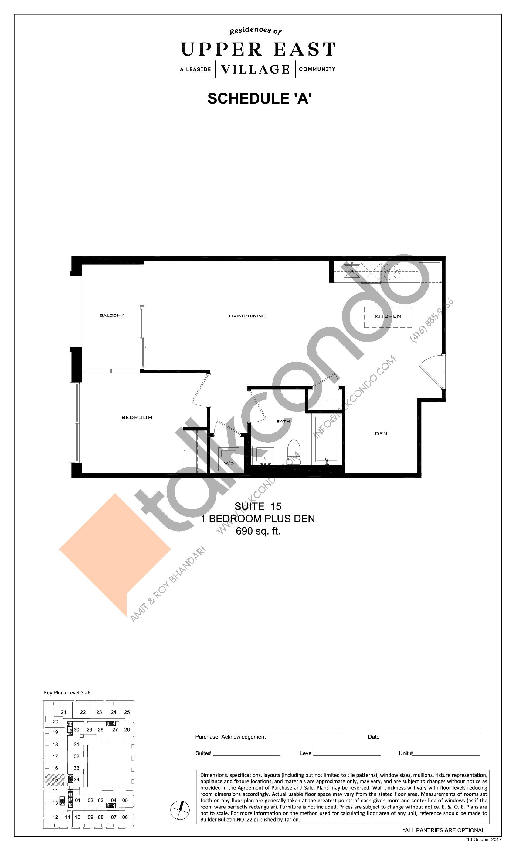 Suite 15 Floor Plan at Upper East Village Condos - 690 sq.ft