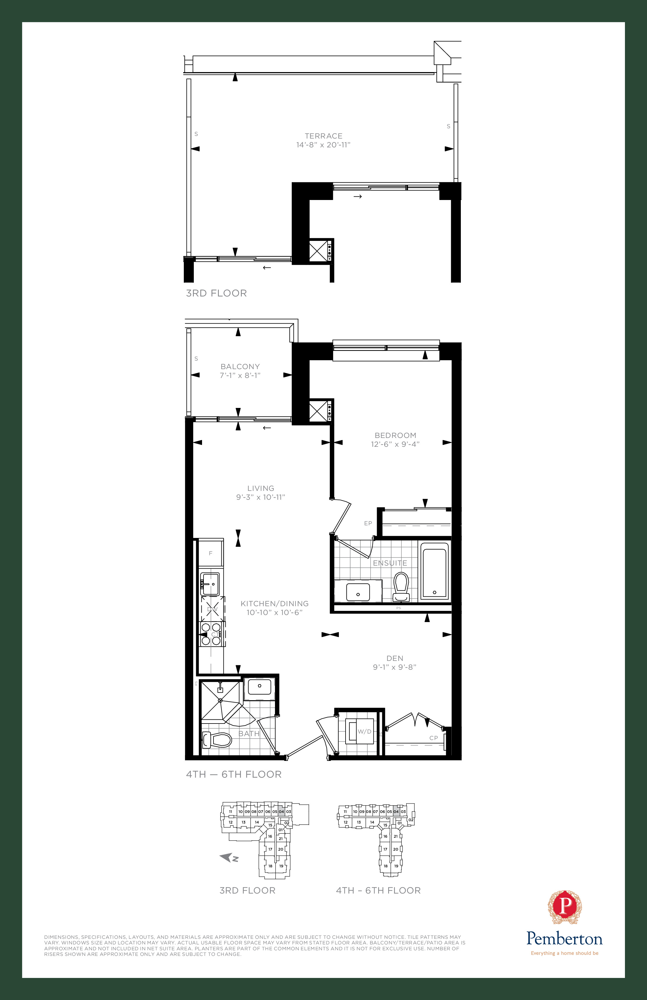 Suite C - Building A Floor Plan at 9th & Main Condos + Towns - 670 sq.ft