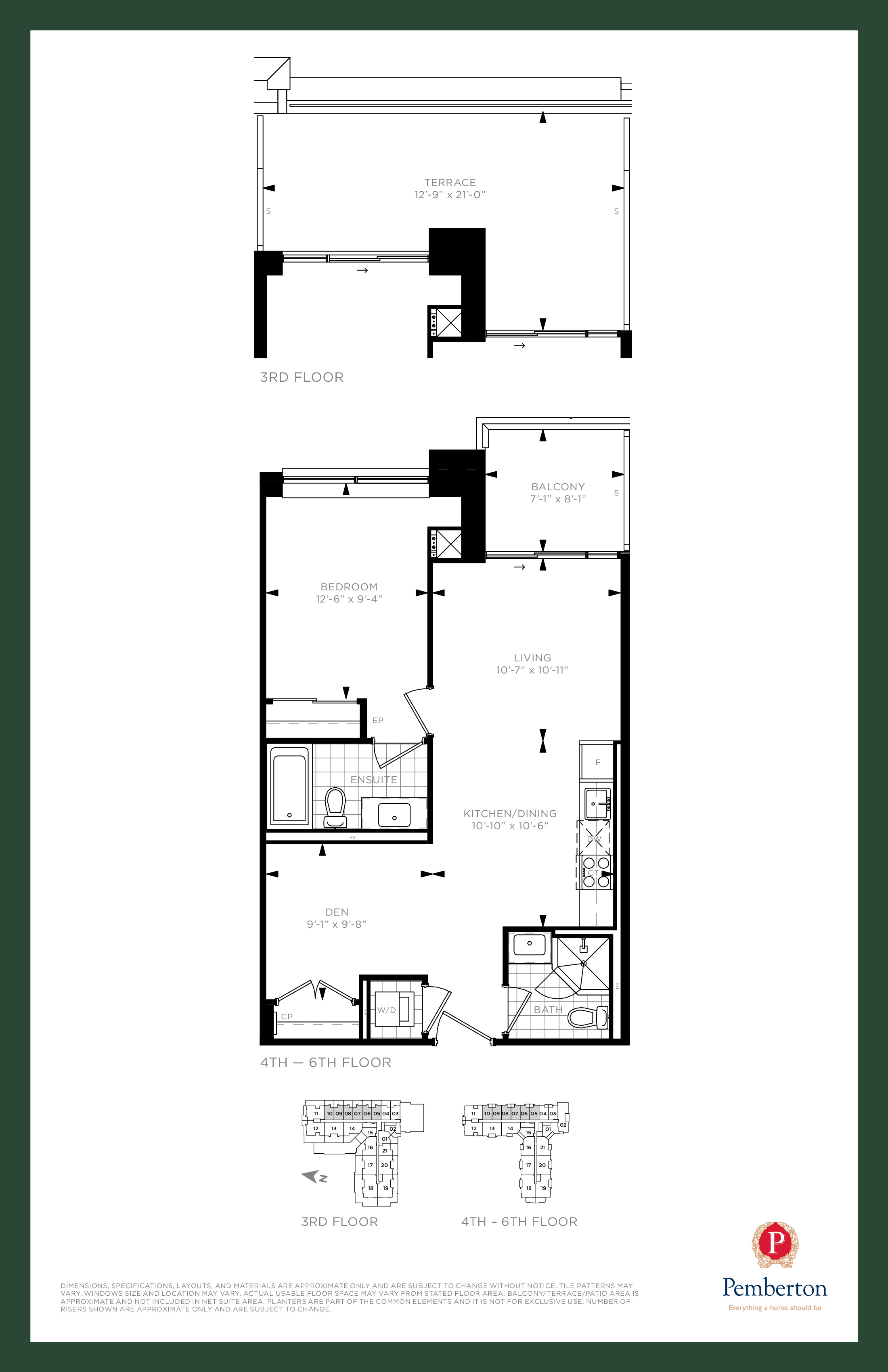 Suite D - Building A Floor Plan at 9th & Main Condos + Towns - 685 sq.ft