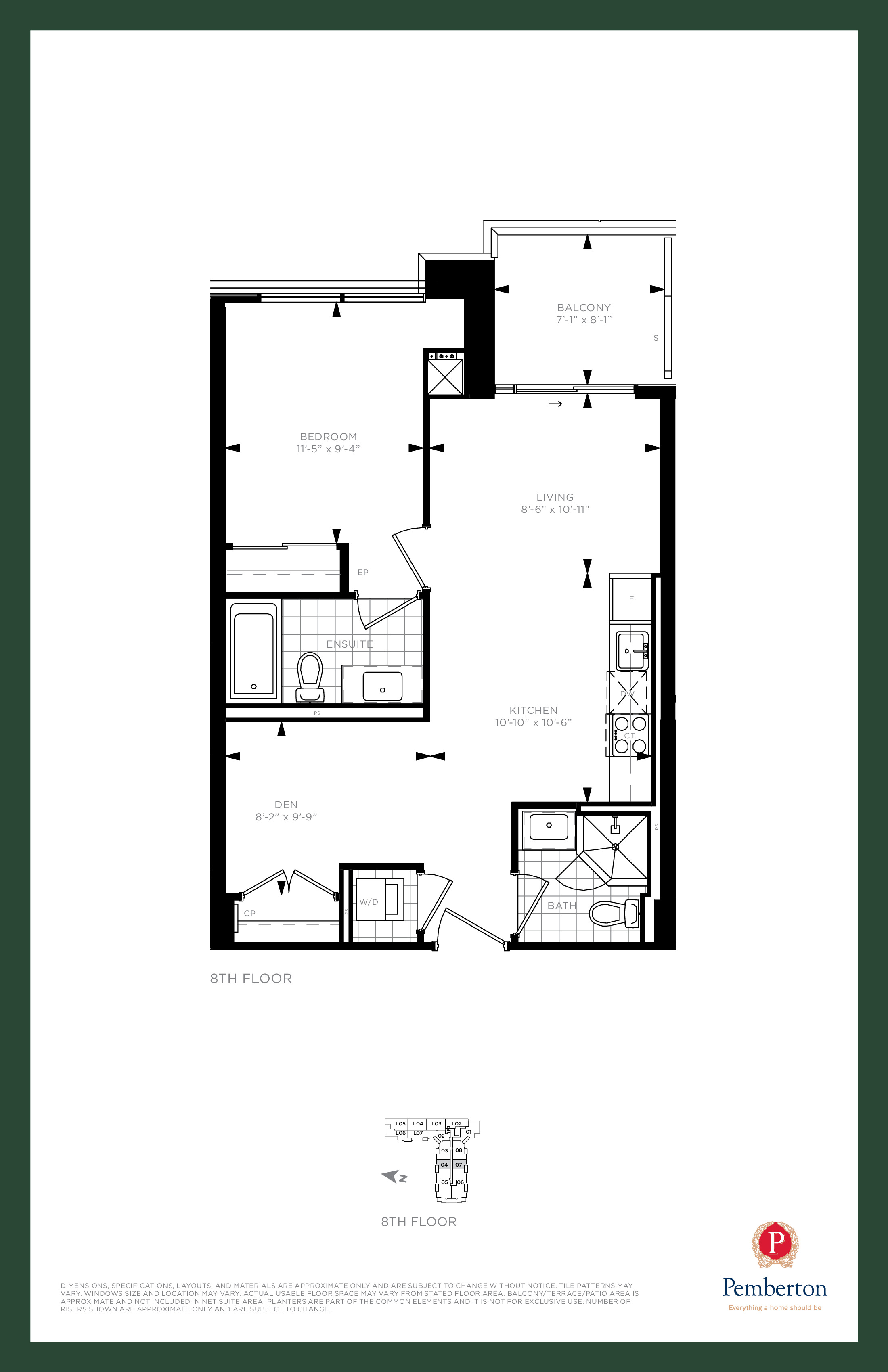 Suite F - Building A Floor Plan at 9th & Main Condos + Towns - 645 sq.ft