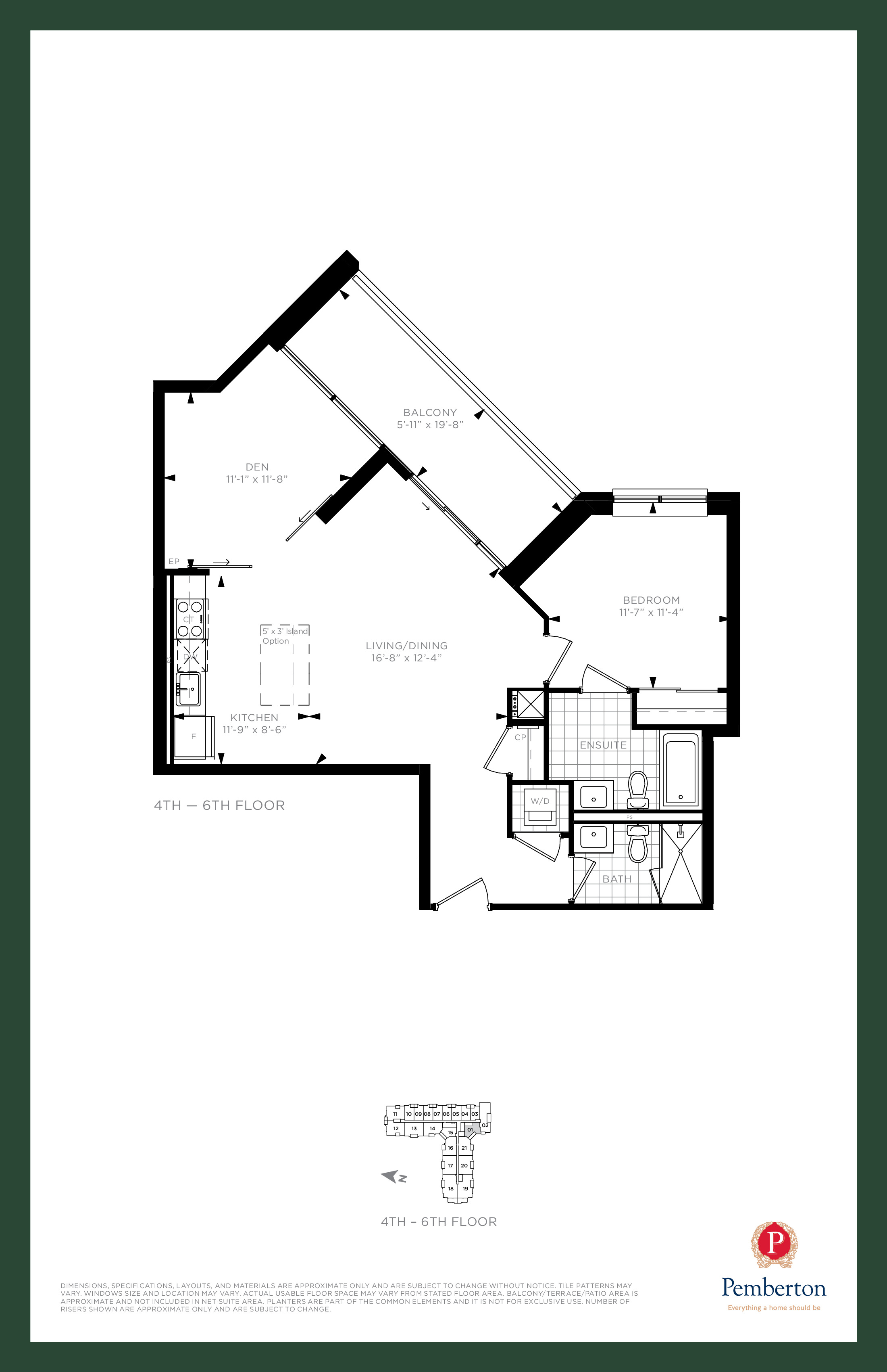Suite J - Building A Floor Plan at 9th & Main Condos + Towns - 890 sq.ft