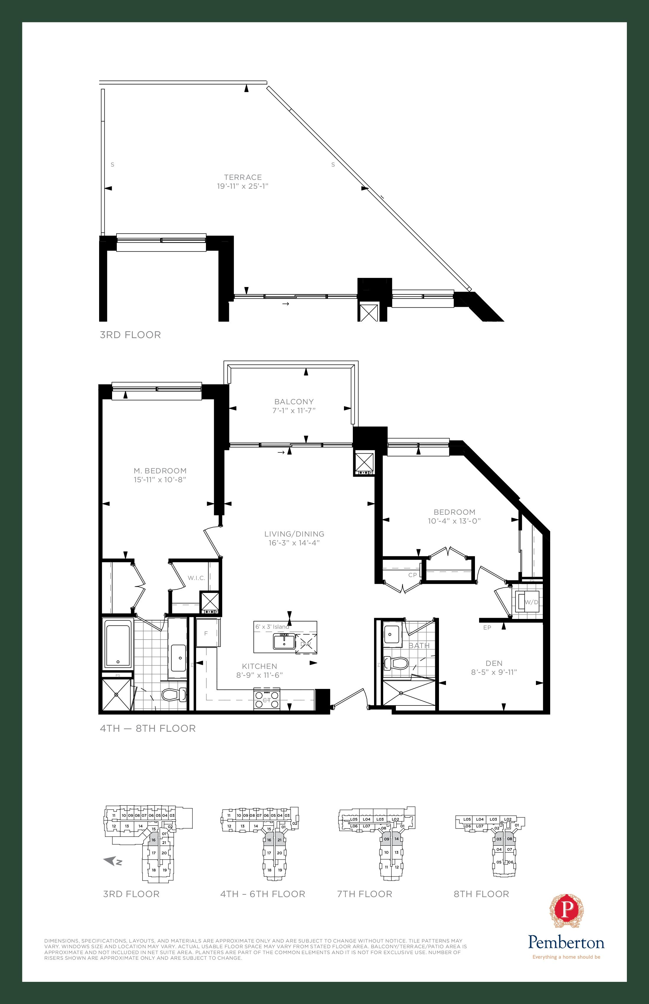 Suite K - Building A Floor Plan at 9th & Main Condos + Towns - 1165 sq.ft
