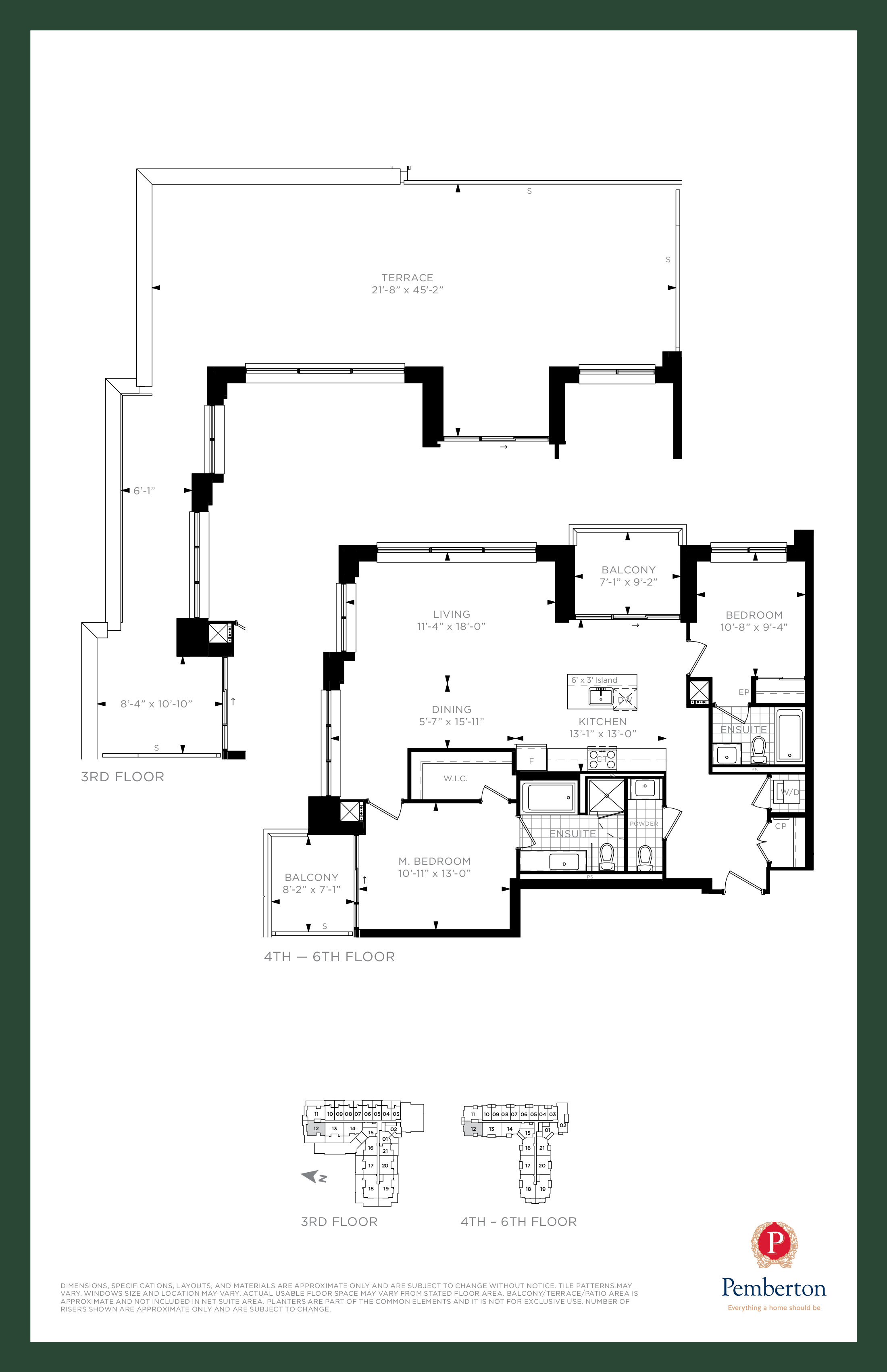 Suite M - Building A Floor Plan at 9th & Main Condos + Towns - 1245 sq.ft
